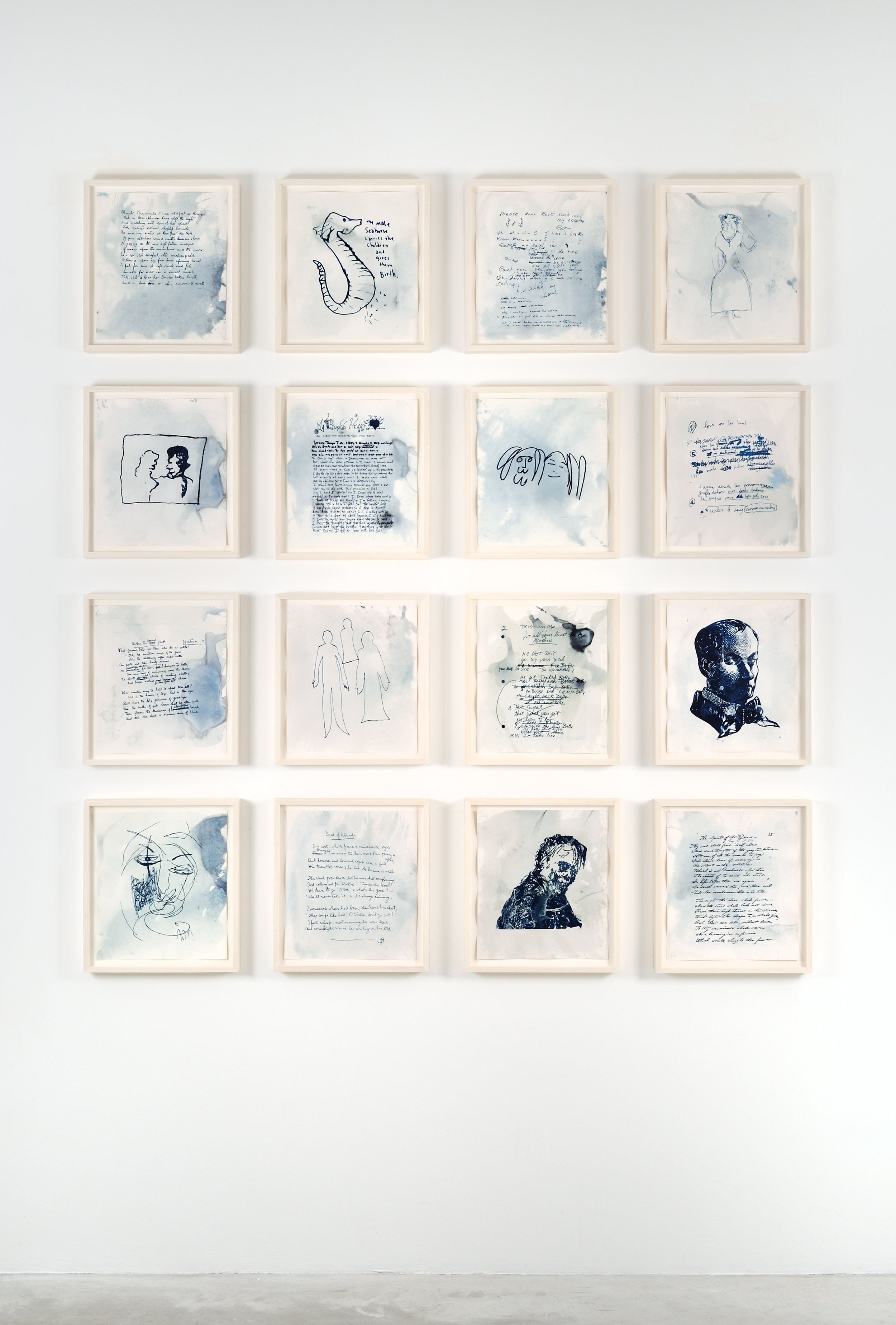 Life, Left to Struggle in The Sun, 2012 16 cyanotypes, ghost images of original drawings, handwritten lyrics, and poems by now deceased writers, pop stars and poets, sunlight, chlorophyll, ocean water, watercolor paper 38 x 34,3 cm - 15 x 13 1/2 inches (framed) (each)