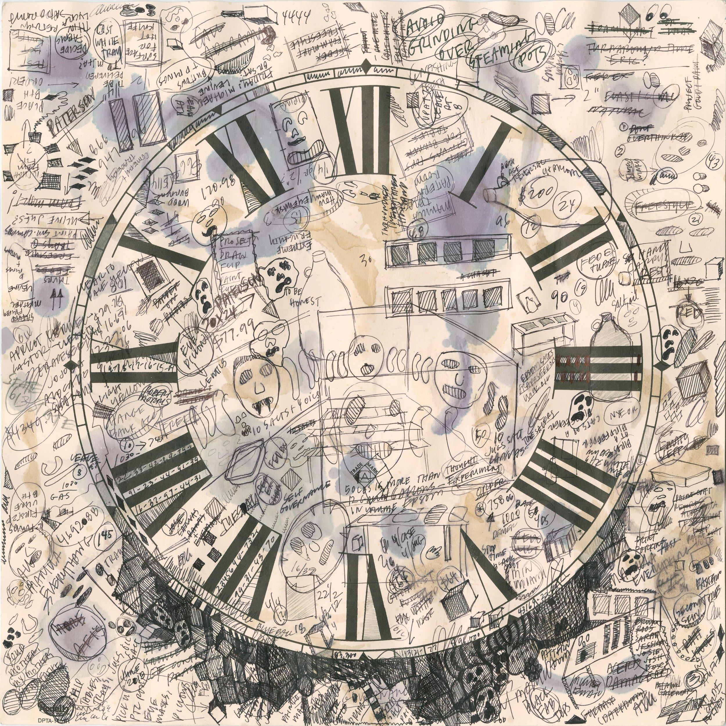 Untitled Timepiece, 2017 inkjet on muslin, thread 147,5 x 147,5 cm - 58 1/8 x 58 1/8 inches