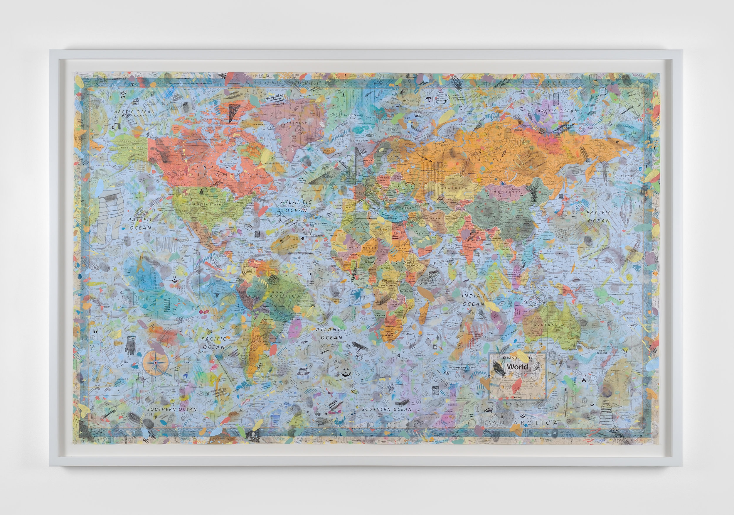 World Map, 2015 acrylic paint, watercolor, ball point pen, red wine, tea, coffee, marker, graphite on world map 89 x 134,5 cm - 32 x 50 inches (framed)