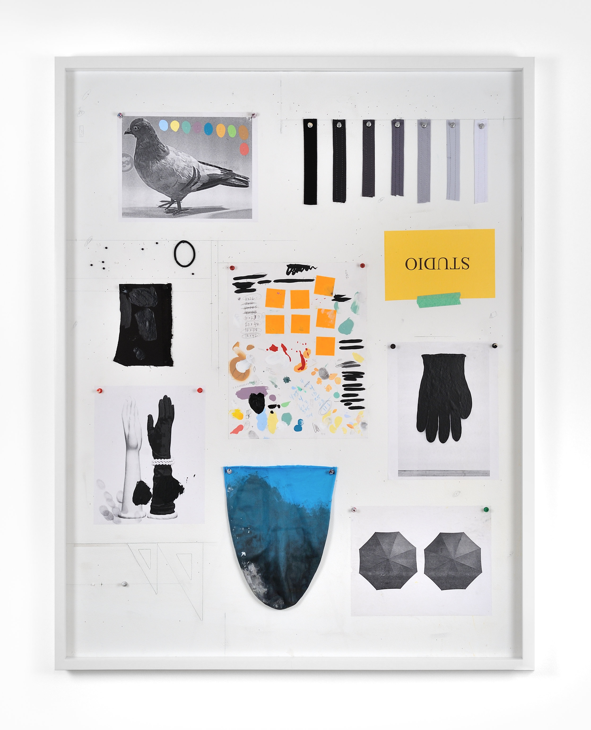 Untitled Still Life (ARTIFICIAL PIGEON AND PANTY STRAPS), 2015 sheetrock, latex paint, acrylic, graphite, laser prints, greyscale panty straps swatches from ONCE YOU GO BLACK, aluminum thumbtacks, map tacks, material test, hair band, acrylic graphite, ball point pen, post-it notes on paper, plastic thumbtacks, STUDIO label and green tape from LA Packing, fingertip test 121,3 x 93,4 cm - 47 3/4 x 36 3/4 inches (framed)
