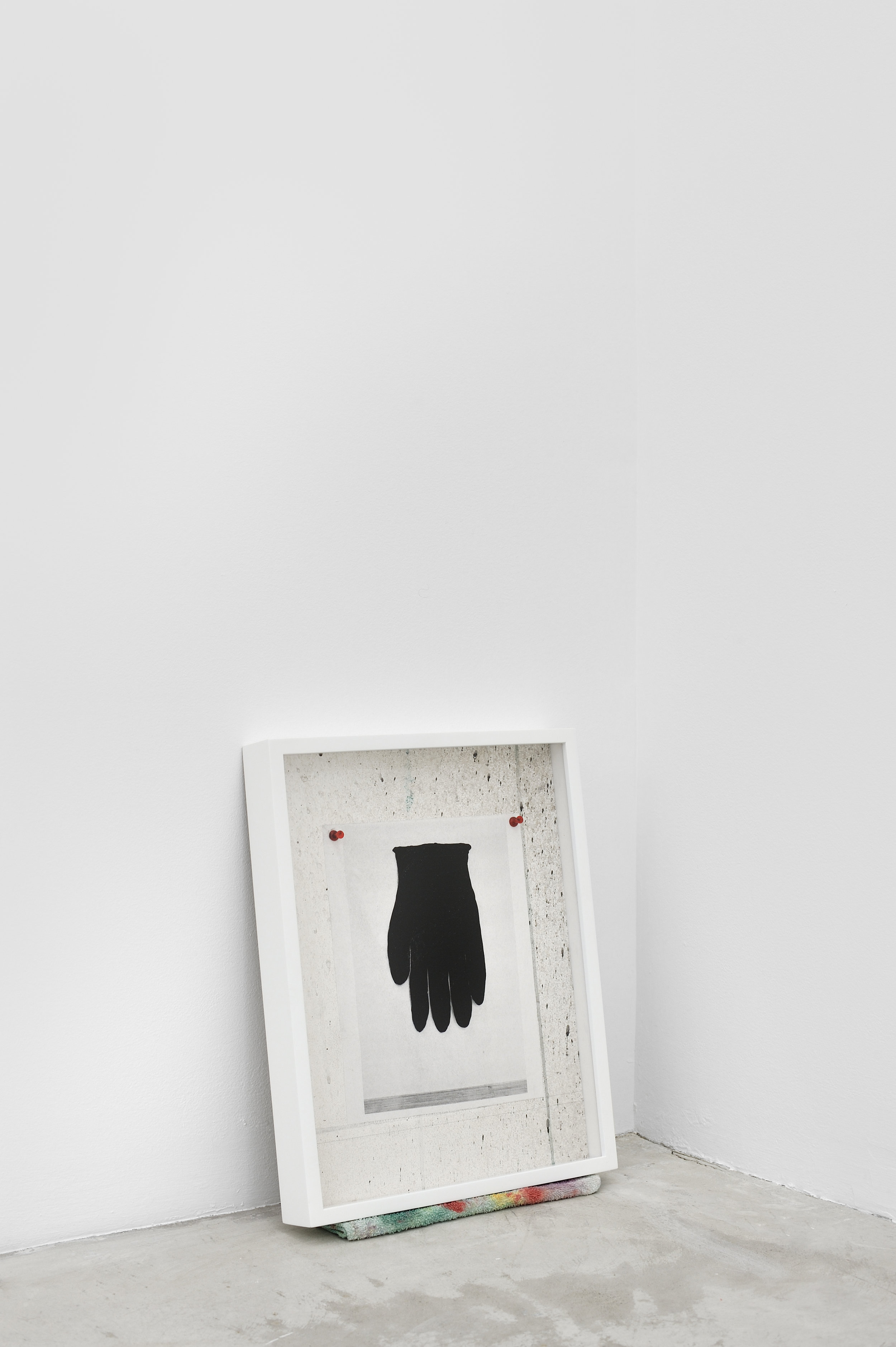 Untitled Still Life (BLACK GLOVE), 2015 sheetrock, latex paint, acrylic, graphite, acrylic on laser print, plastic thumbtacks 43,5 x 34 cm - 17 1/8 x 13 3/8 inches (framed)