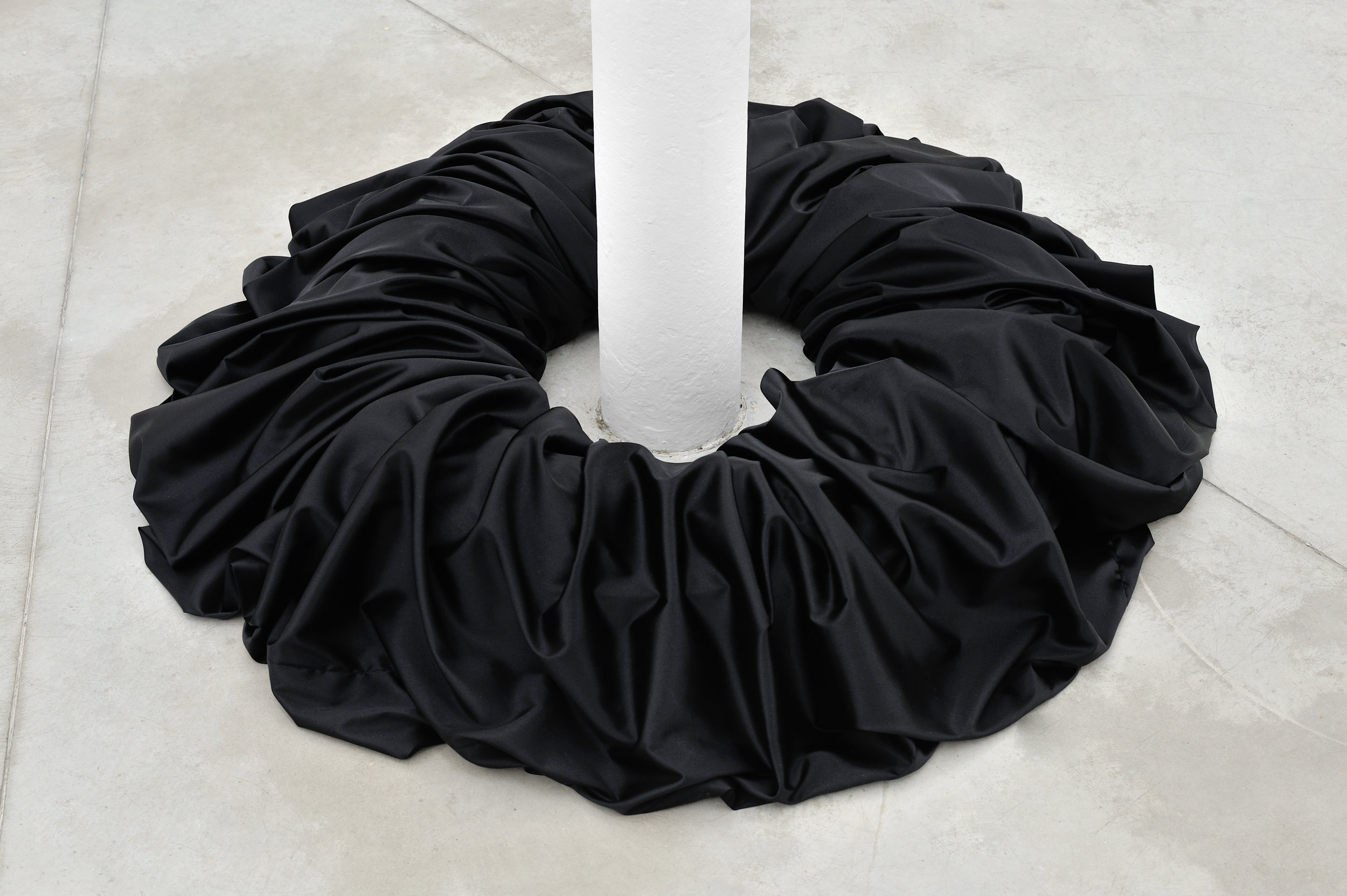 BLACK SCRUNCHIE (1258%), 2015 satin, elastic 49 x 49 x 30 cm - 19 1/4 x 19 1/4 x 11 3/4 inches
