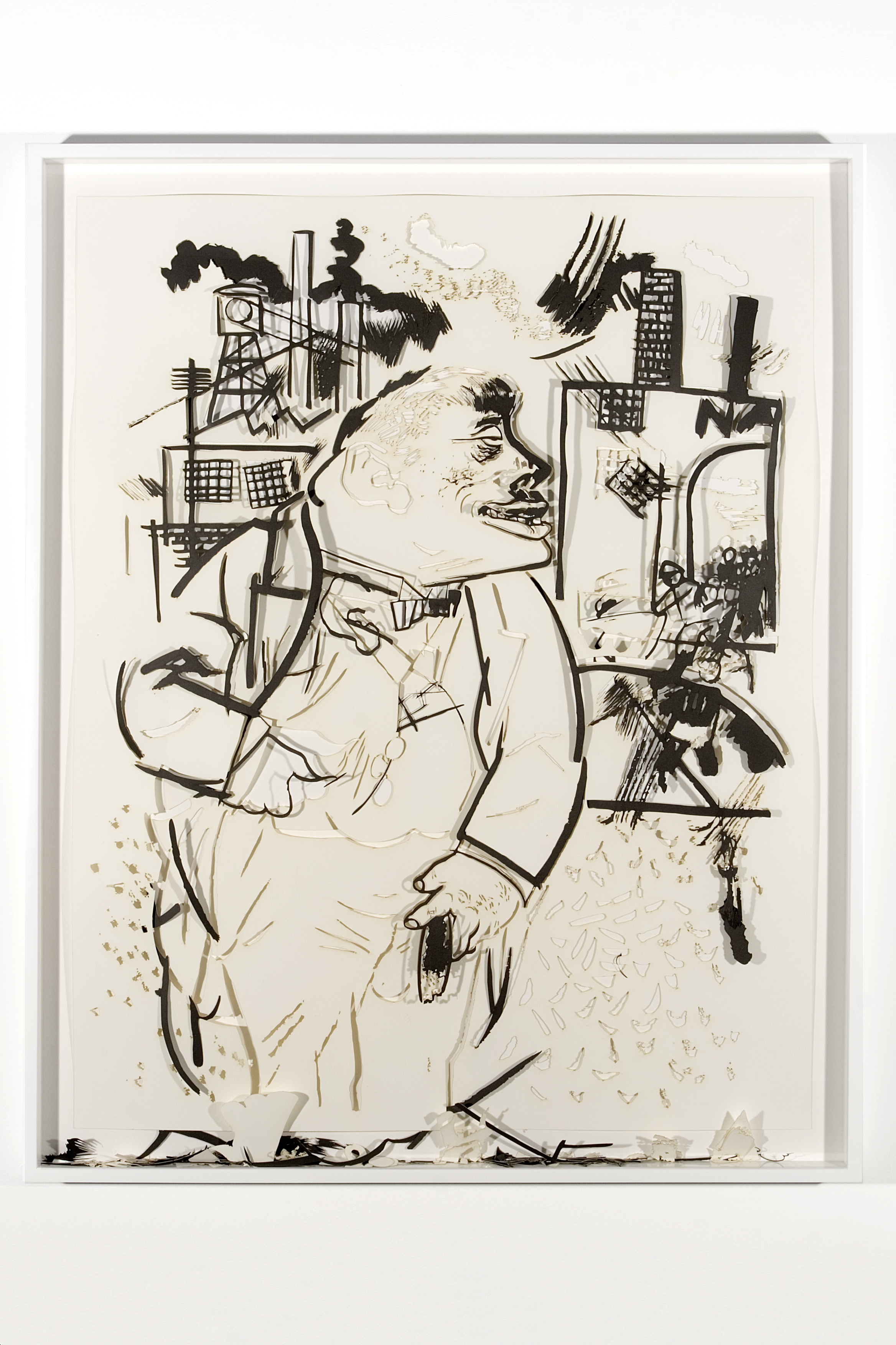 "Collapsed Drawing: ""On his own power"" (George Grosz), 2007 laser-cut paper and laser-cut archival digital print mounted on museum board 111,5 x 90 cm - 43 7/8 x 35 3/8 inches (framed)"