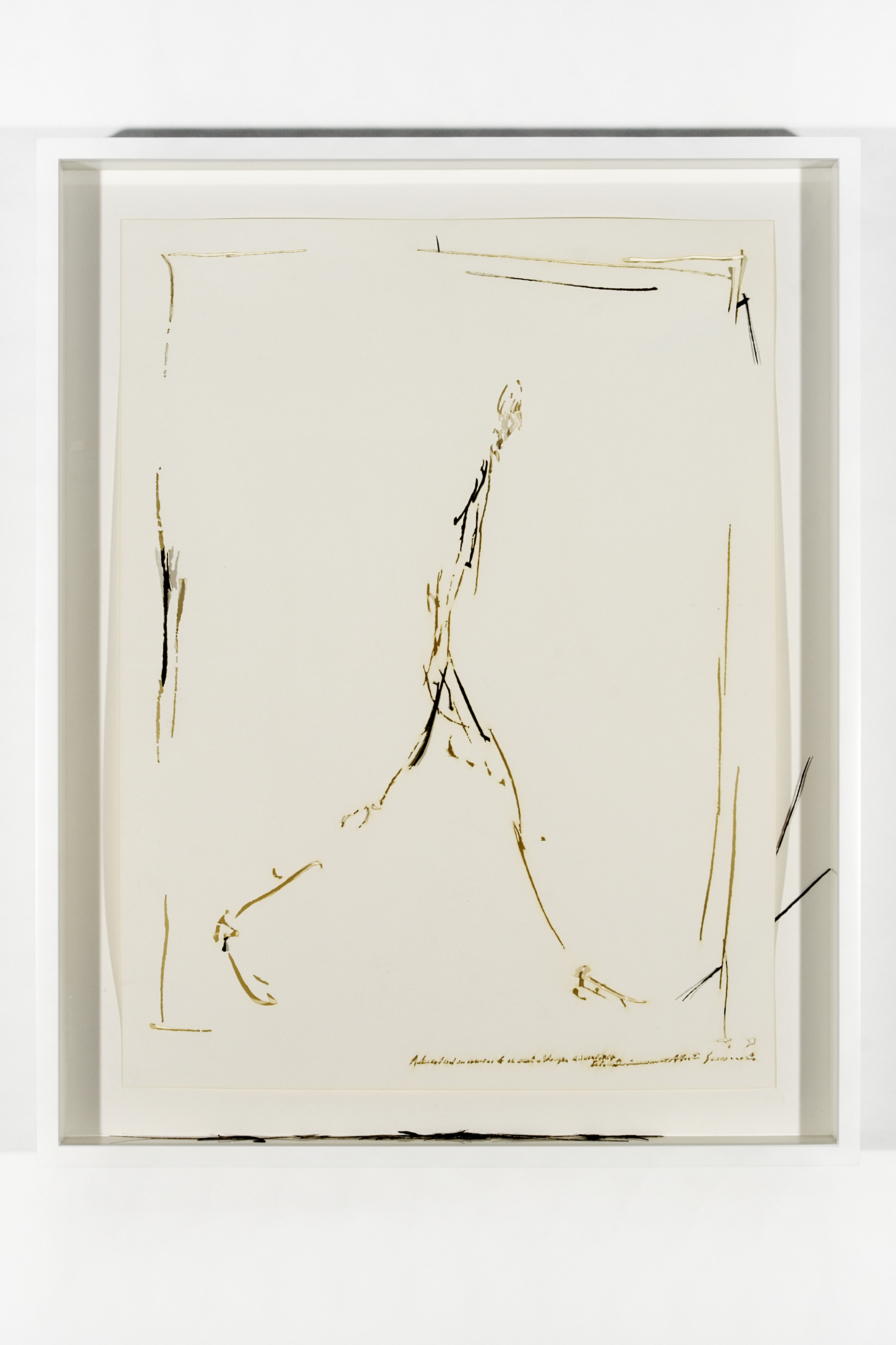 "Collapsed Drawing: ""L'homme qui marche"" (Alberto Giacometti), 2007 laser-cut paper and laser-cut archival digital print mounted on museum board 70,4 x 55,5 cm - 27 3/4 x 21 7/8 inches (framed)"