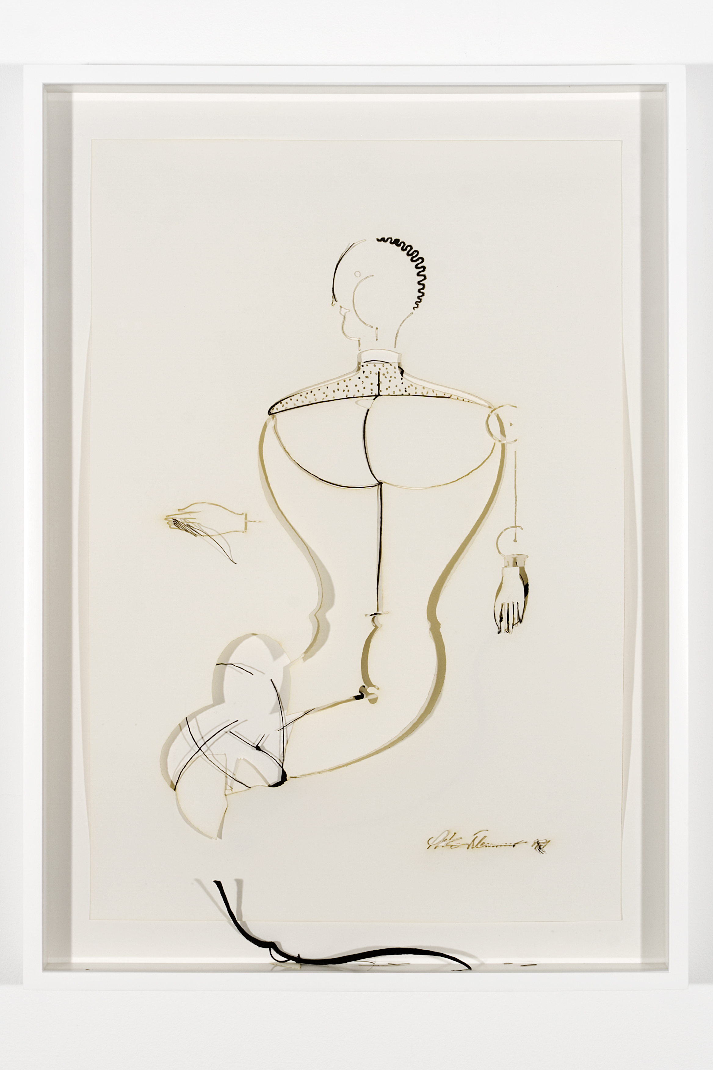 "Collapsed Drawing: ""Abstrakte Figur, Kopf Mach Links"" (Oskar Schlemmer), 2007 laser-cut paper and laser-cut archival digital print mounted on museum board 72,5 x 52,2 cm - 28 1/2 x 20 1/2 inches (framed)"
