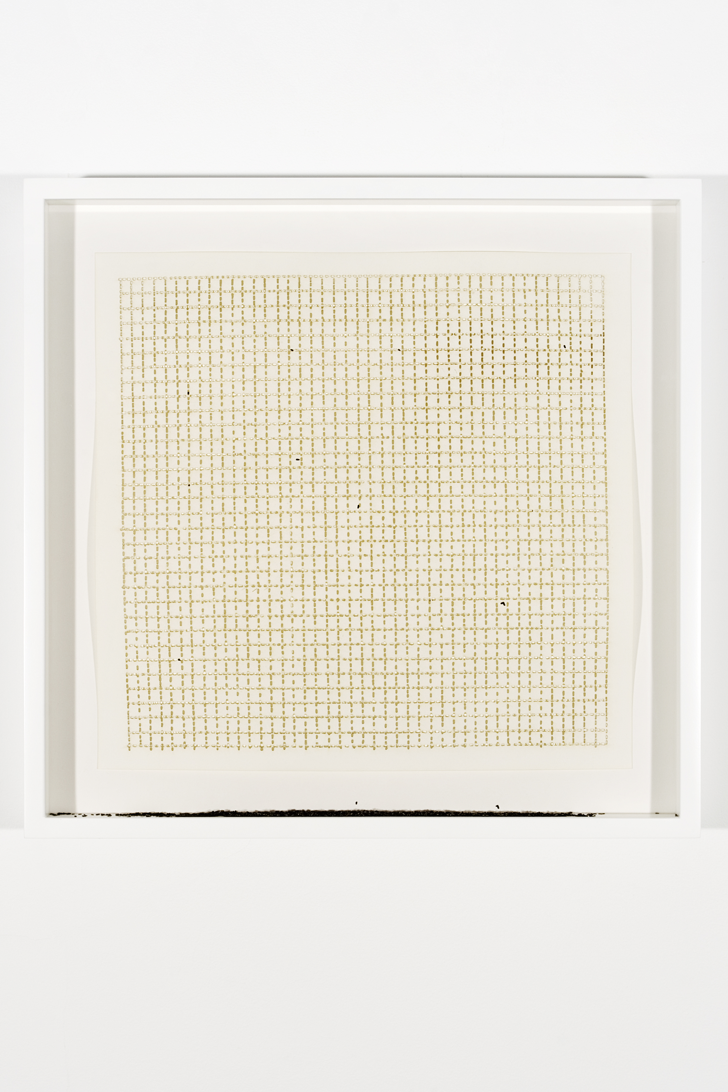 "Collapsed Drawing: ""Untitled"" (Agnes Martin), 2007 laser-cut paper and laser-cut archival digital print mounted on museum board 49 x 50,3 cm - 19 1/4 x 19 3/4 inches (framed)"