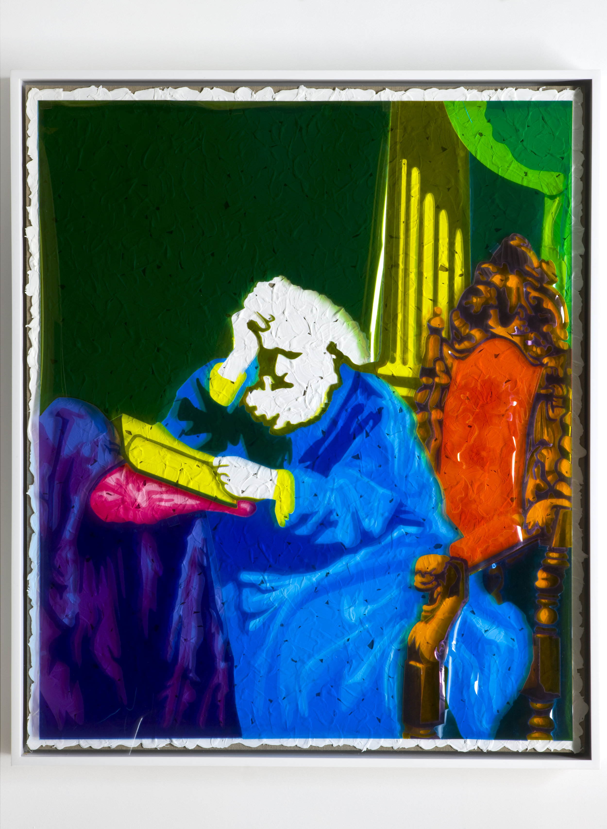 """Overlay Series: Early Black and White Photograph (""""Portrait by Antoine Samuel Adam-Salomon, c. 1865); Color Acetate Red, Yellow and Blue; Brushstrokes; and Linen Canvas on Stretcher Bars., 2008 red, yellow and blue film gels and acrylic on linen canvas 119,4 x 100 cm - 47 x 39 3/8 inches"""