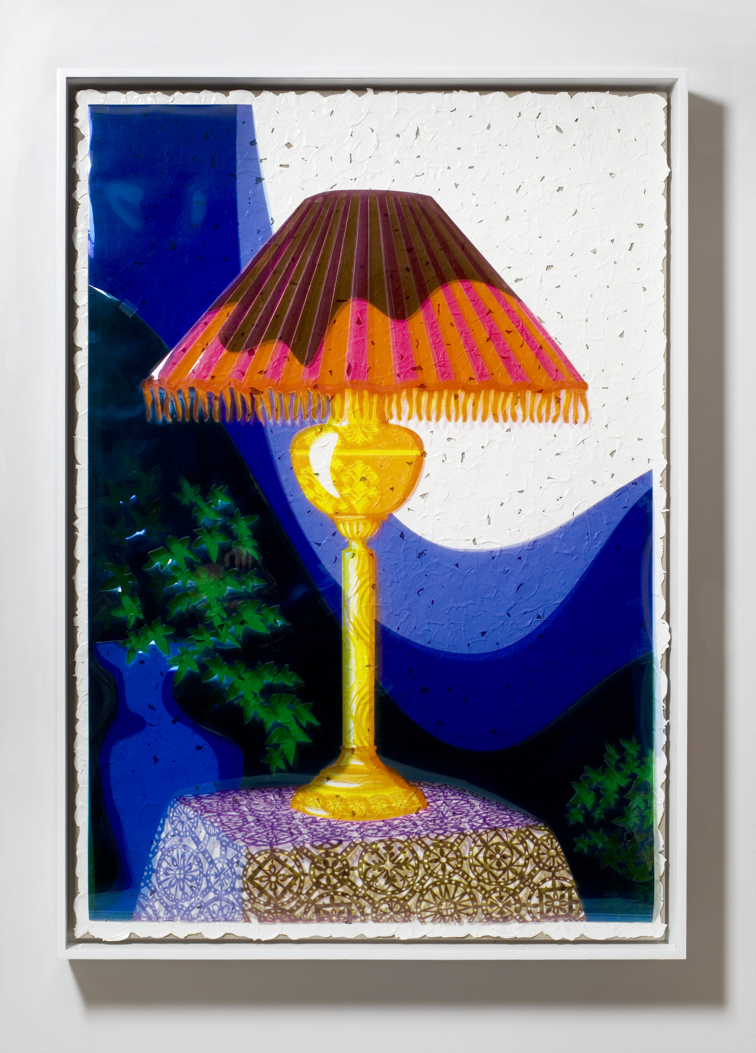 Overlay Series: Early Black and White Photograph (Cabiner-card Portrait of a Table Lamp by Cummins of Auburn Studio, c. 1890); Color Acetate Red, Yellow and Blue; Brushstrokes; and Linen Canvas on Stretcher Bars., 2008 red, yellow and blue film gels and acrylic on linen canvas 140 x 95,6 cm - 55 1/8 x 37 5/8 inches