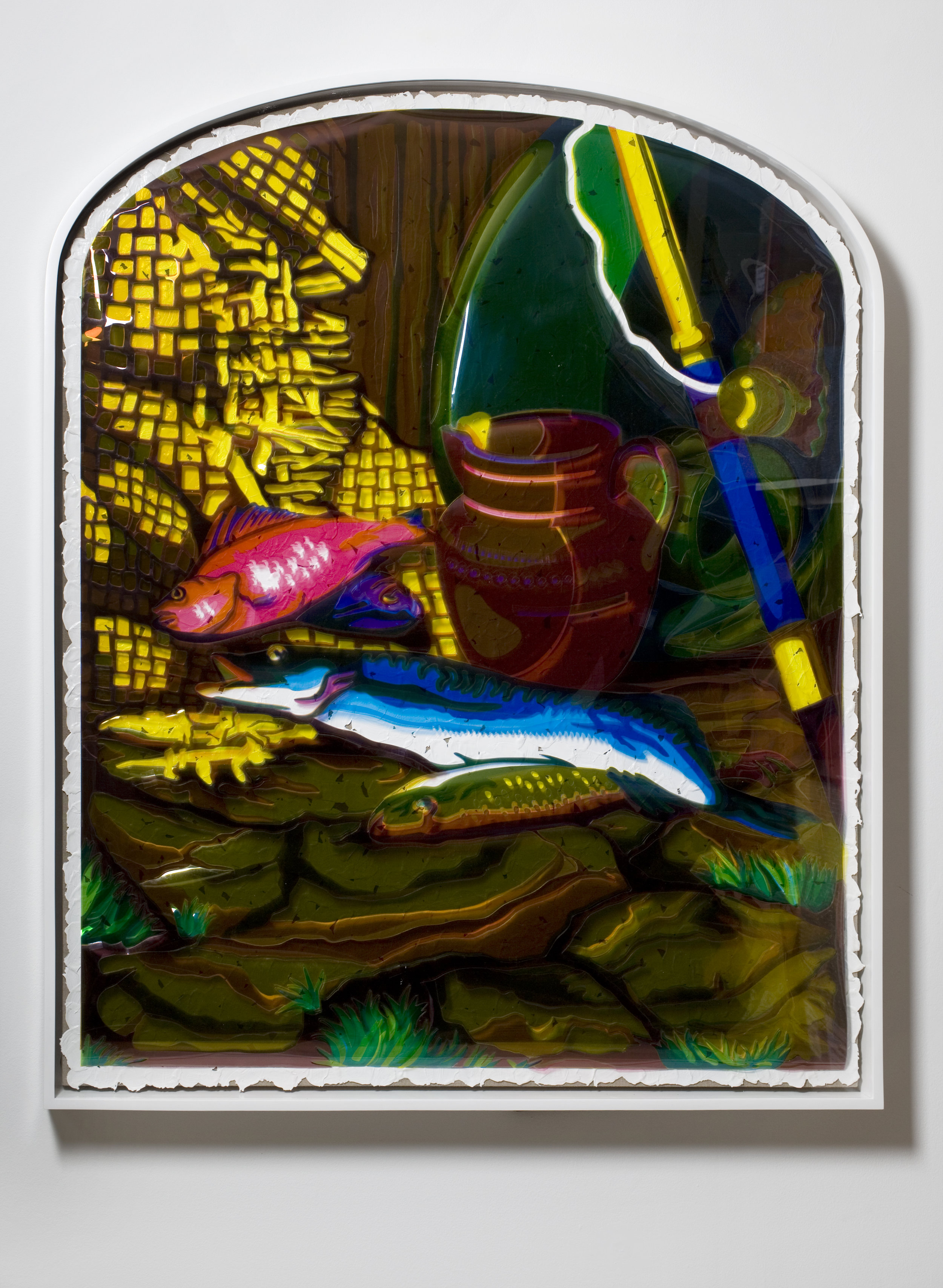 """Overlay Series: Early Photograph (""""A Day's Sport (Group of Fish)"""" by T.R. Williams, c. 1851-1855); Color Acetate Red, Yellow and Blue; Brushstrokes; and Linen Canvas on Stretcher Bars., 2008 red, yellow and blue film gels and acrylic on linen canvas 145 x 120 cm - 57 1/8 x 47 1/4 inches"""