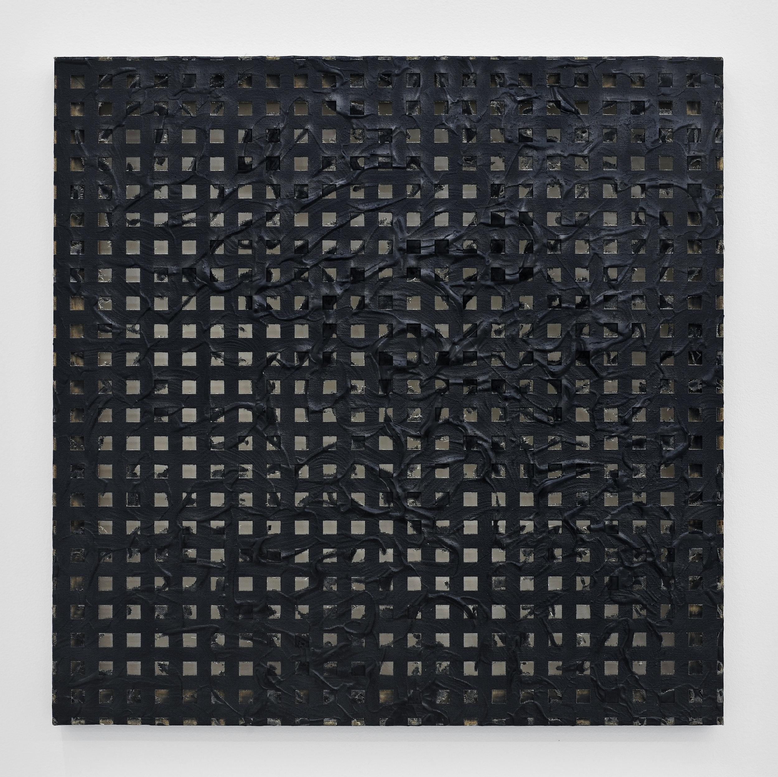 Erosion (Grid) #2, 2011 laser-carved acrylic on canvas 61 x 61 x 4 cm - 24 x 24 x 1 1/2 inches