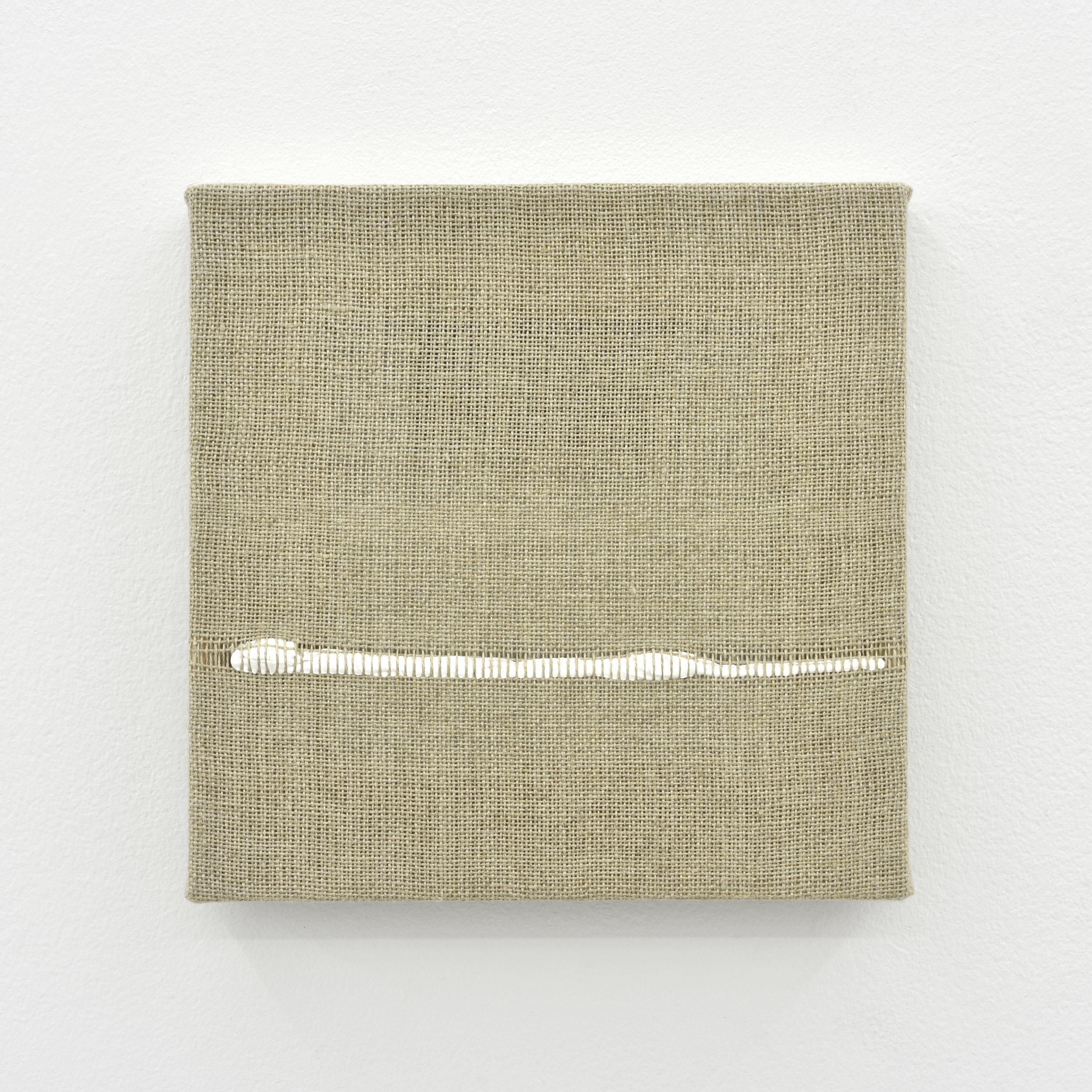 Composition for Woven Horizon Line (White), 2017 acrylic paint woven through linen 20 x 20 x 2 cm - 7 7/8 x 7 7/8 x 0 3/4 inches