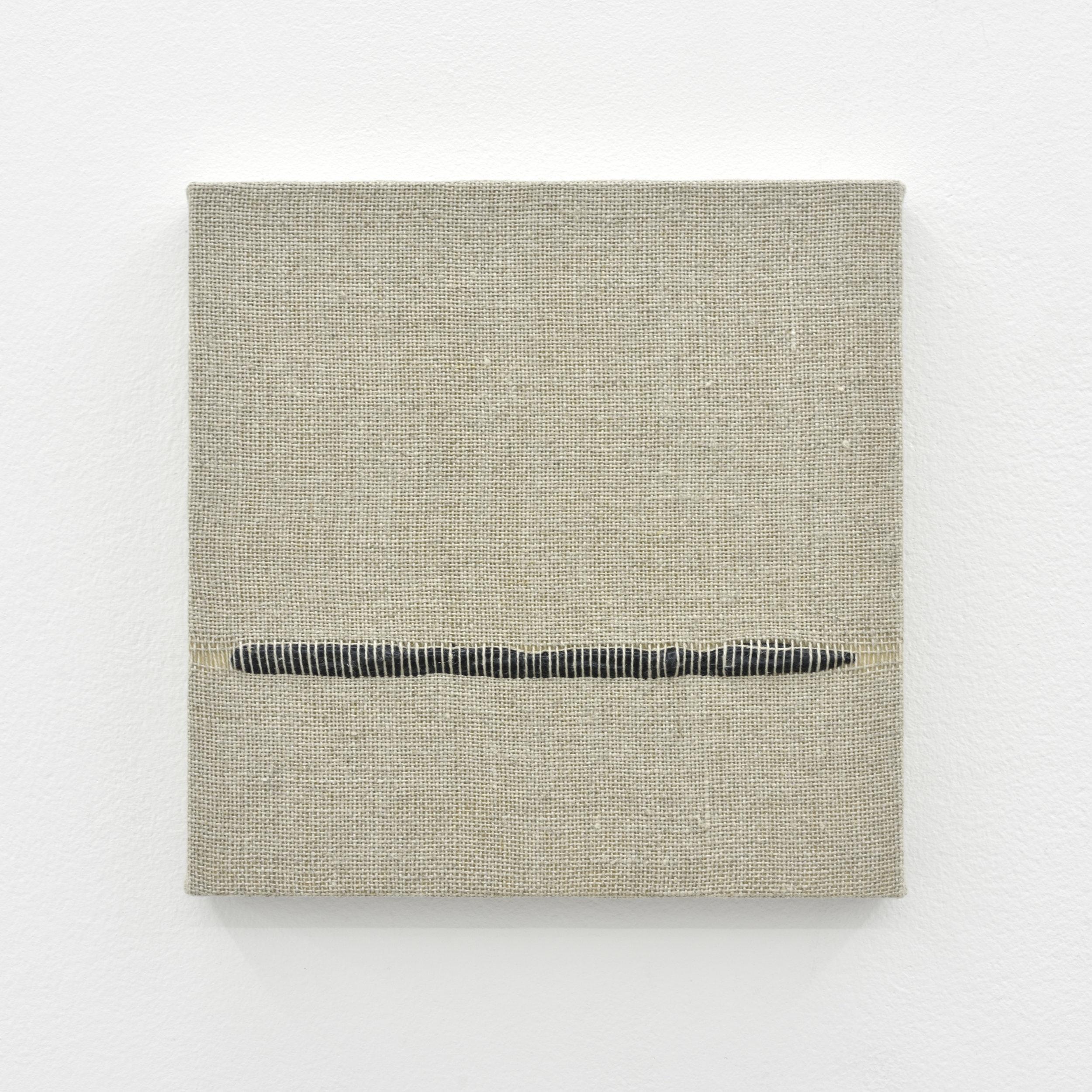 Composition for Woven Horizon Line (Black), 2017 acrylic paint woven through linen 20 x 20 x 2 cm - 7 7/8 x 7 7/8 x 0 3/4 inches