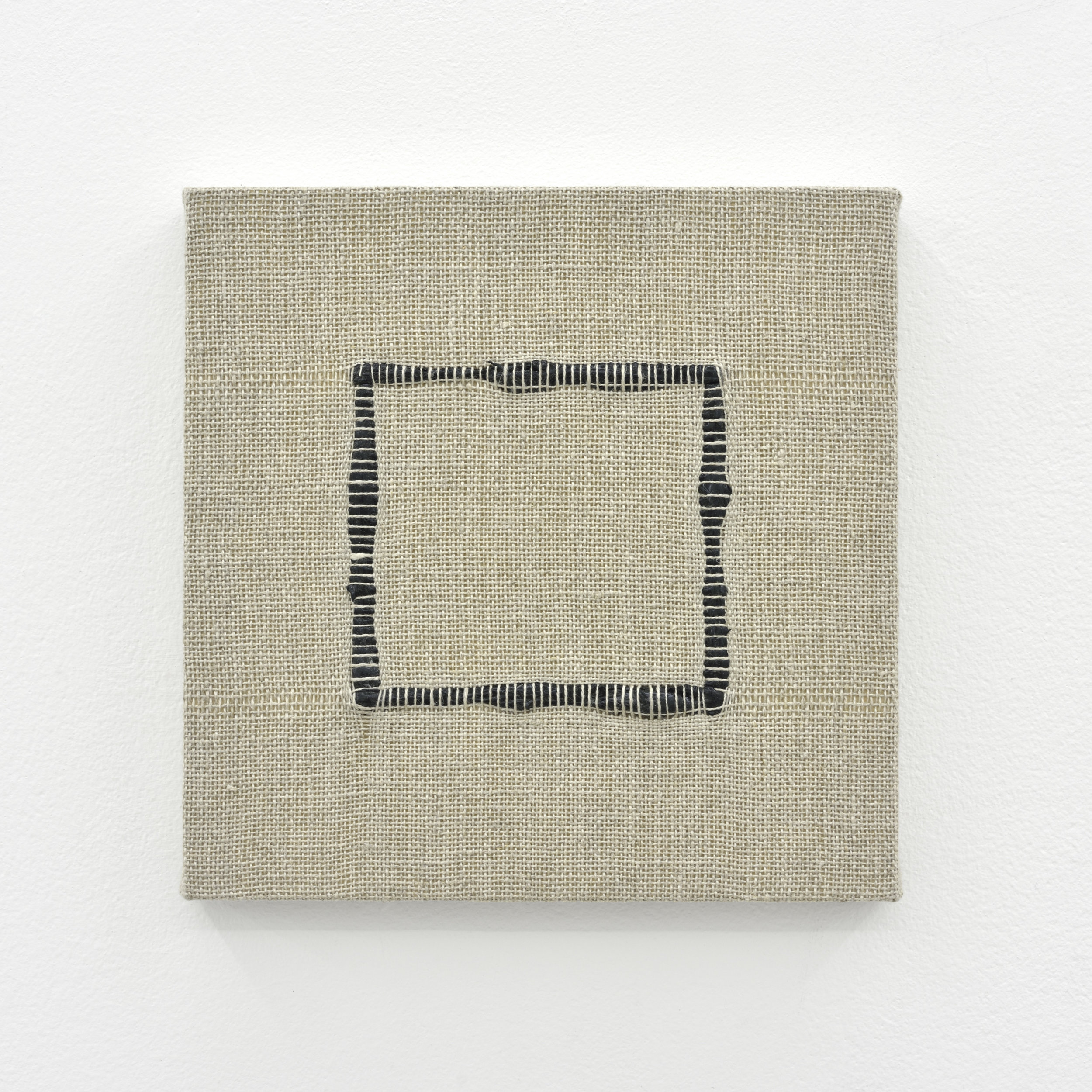 Composition for Woven Square Outline (Black), 2017 acrylic paint woven through linen 20 x 20 x 2 cm - 7 7/8 x 7 7/8 x 0 3/4 inches