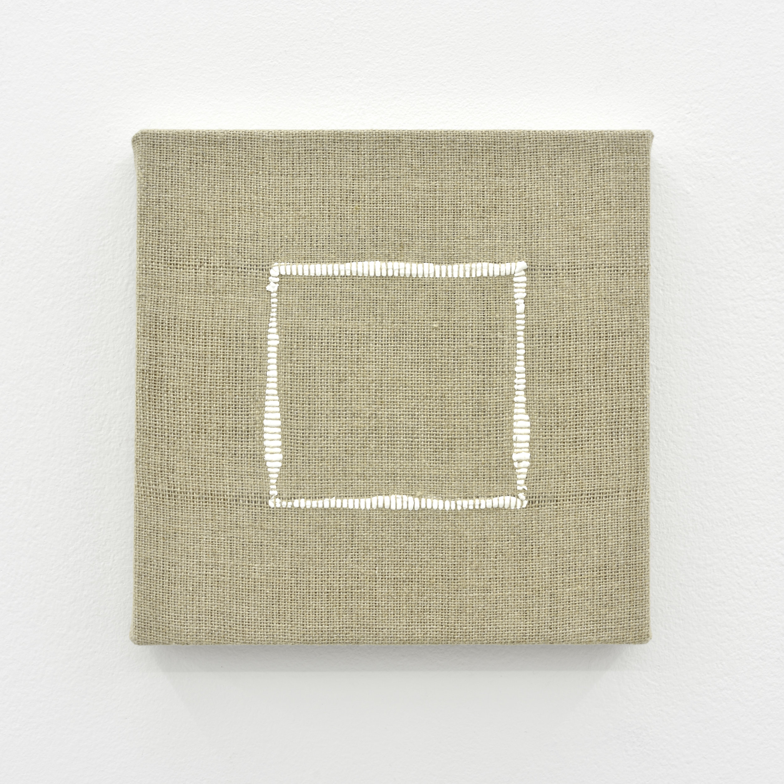 Composition for Woven Square Outline (White), 2017 acrylic paint woven through linen 20 x 20 x 2 cm - 7 7/8 x 7 7/8 x 0 3/4 inches