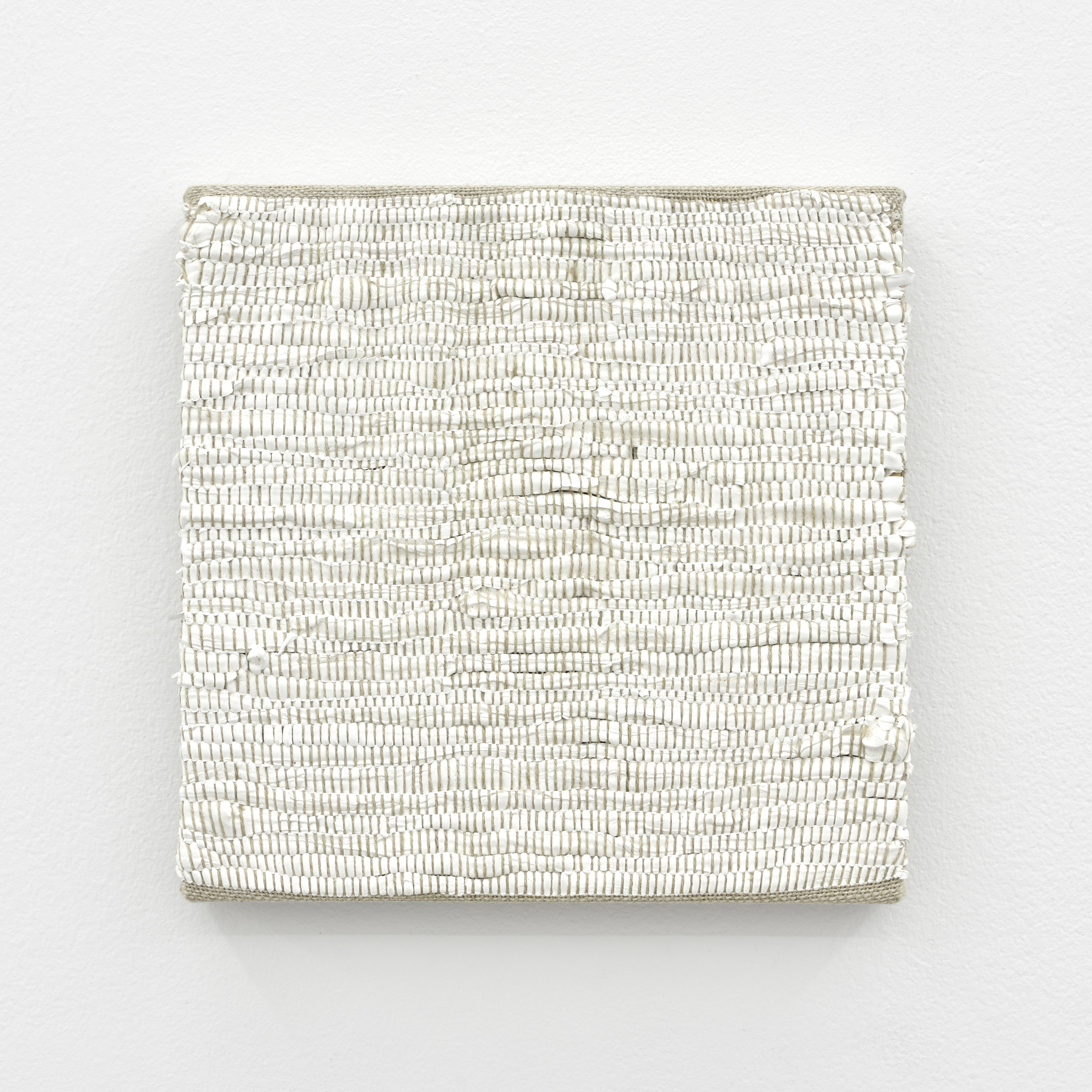 Composition for Woven Solid (White), 2017 acrylic paint woven through linen 20 x 20 x 2 cm - 7 7/8 x 7 7/8 x 0 3/4 inches