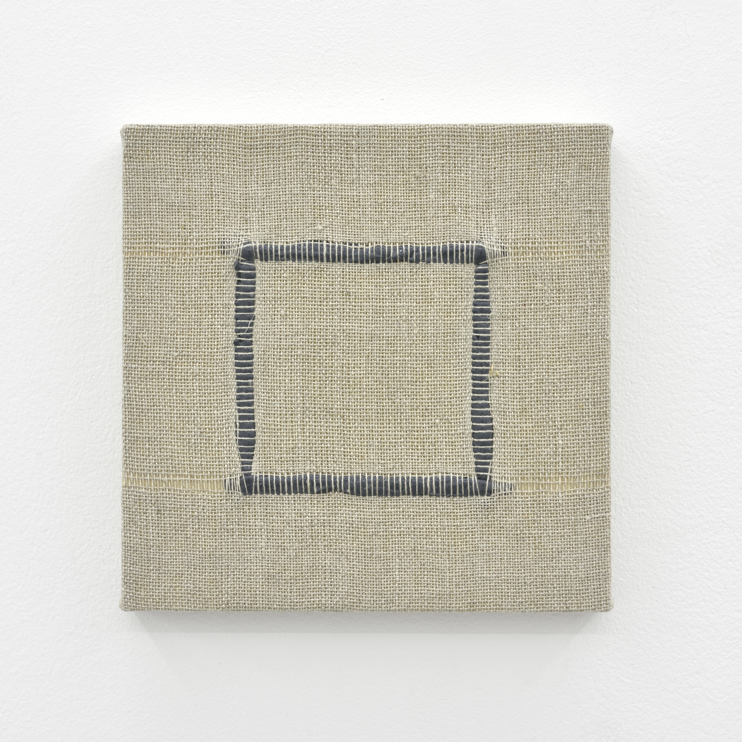 Composition for Woven Square Outline (Gray), 2017 acrylic paint woven through linen on panel 20 x 20 x 3 cm - 7 7/8 x 7 7/8 x 1 1/8 inches