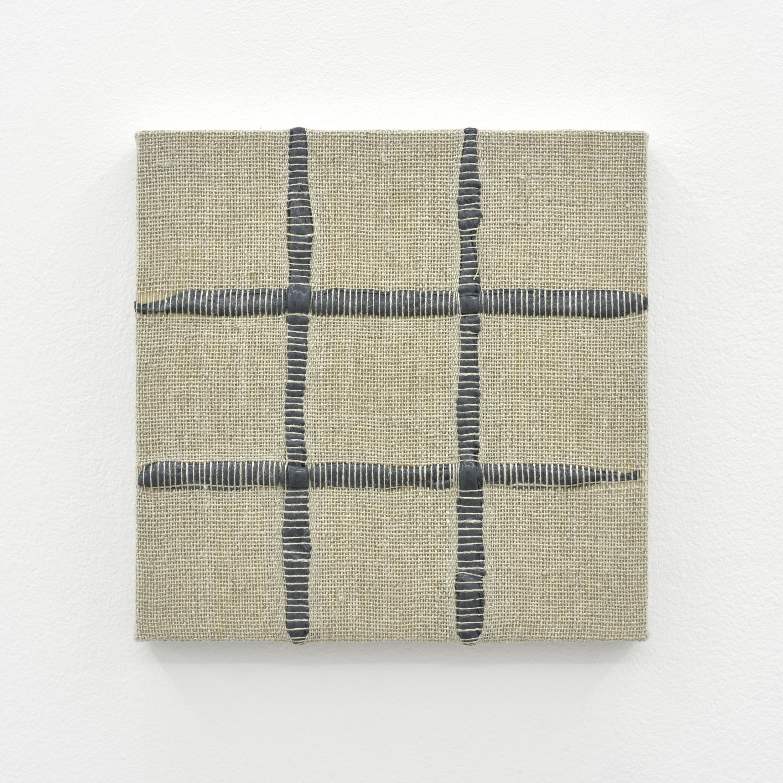 Composition for Woven 3 x 3 Grid (Gray), 2017 acrylic paint woven through linen on panel 20 x 20 x 3 cm - 7 7/8 x 7 7/8 x 1 1/8 inches