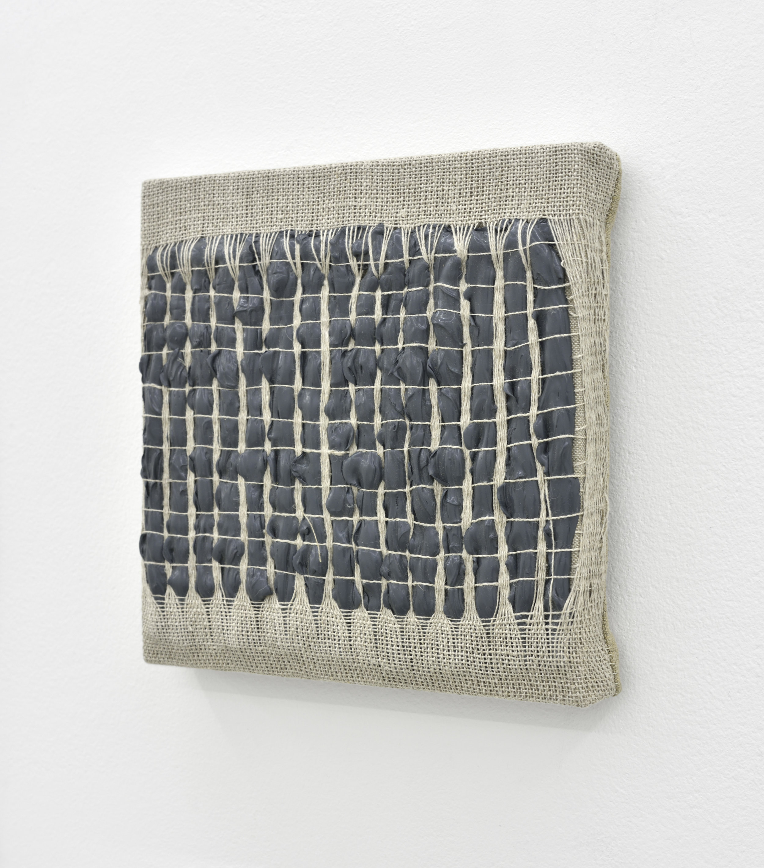 Weaving Density Study, Stage #3 (Gray), 2017 acrylic paint woven through linen on panel 20 x 20 x 3,5 cm - 7 7/8 x 7 7/8 x 1 3/8 inches