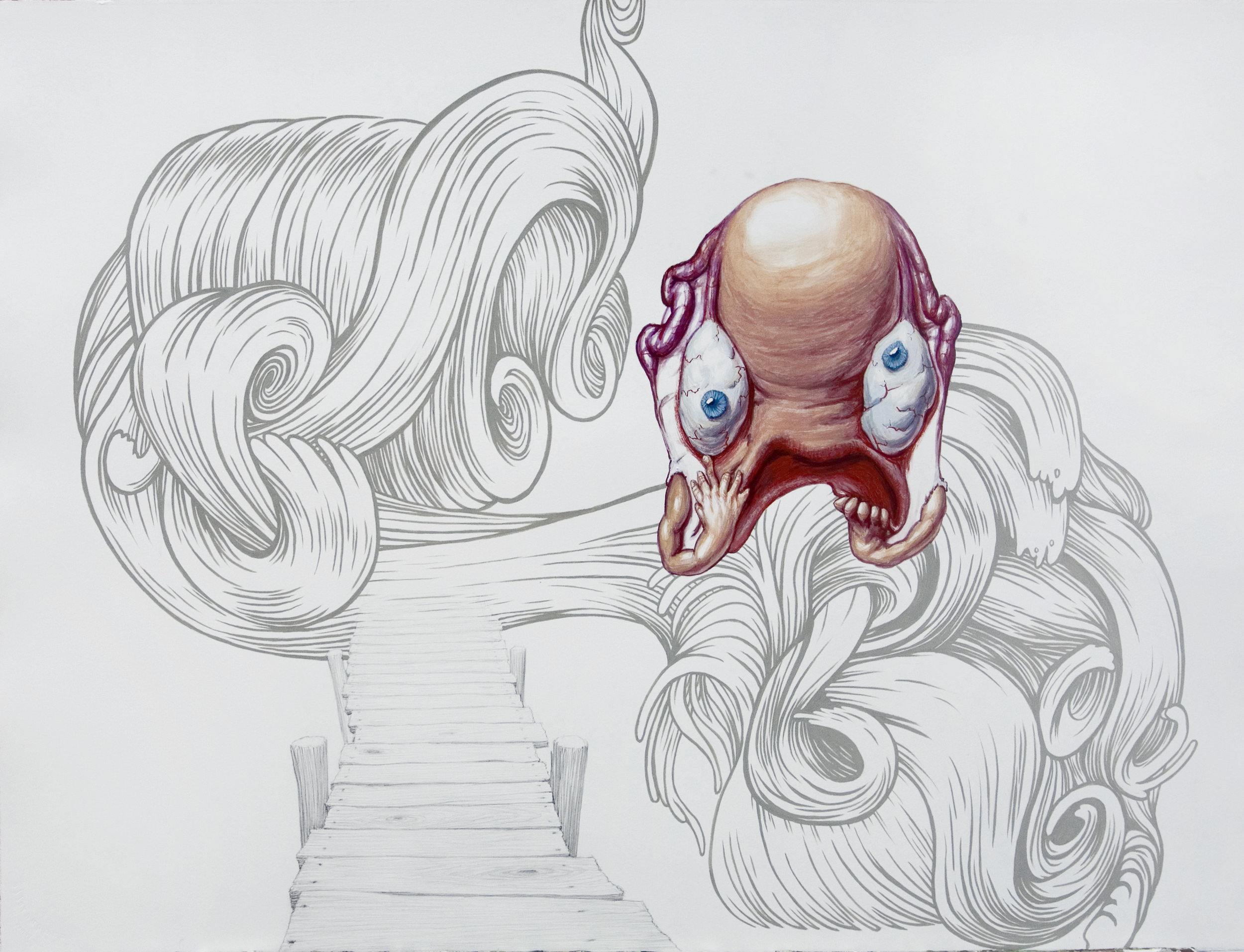 Anatomy Weird-ohs (Uterus), 2011 gouache, pencil and watercolor on paper 56,2 x 75,7 cm - 22 1/8 x 29 3/4 inches