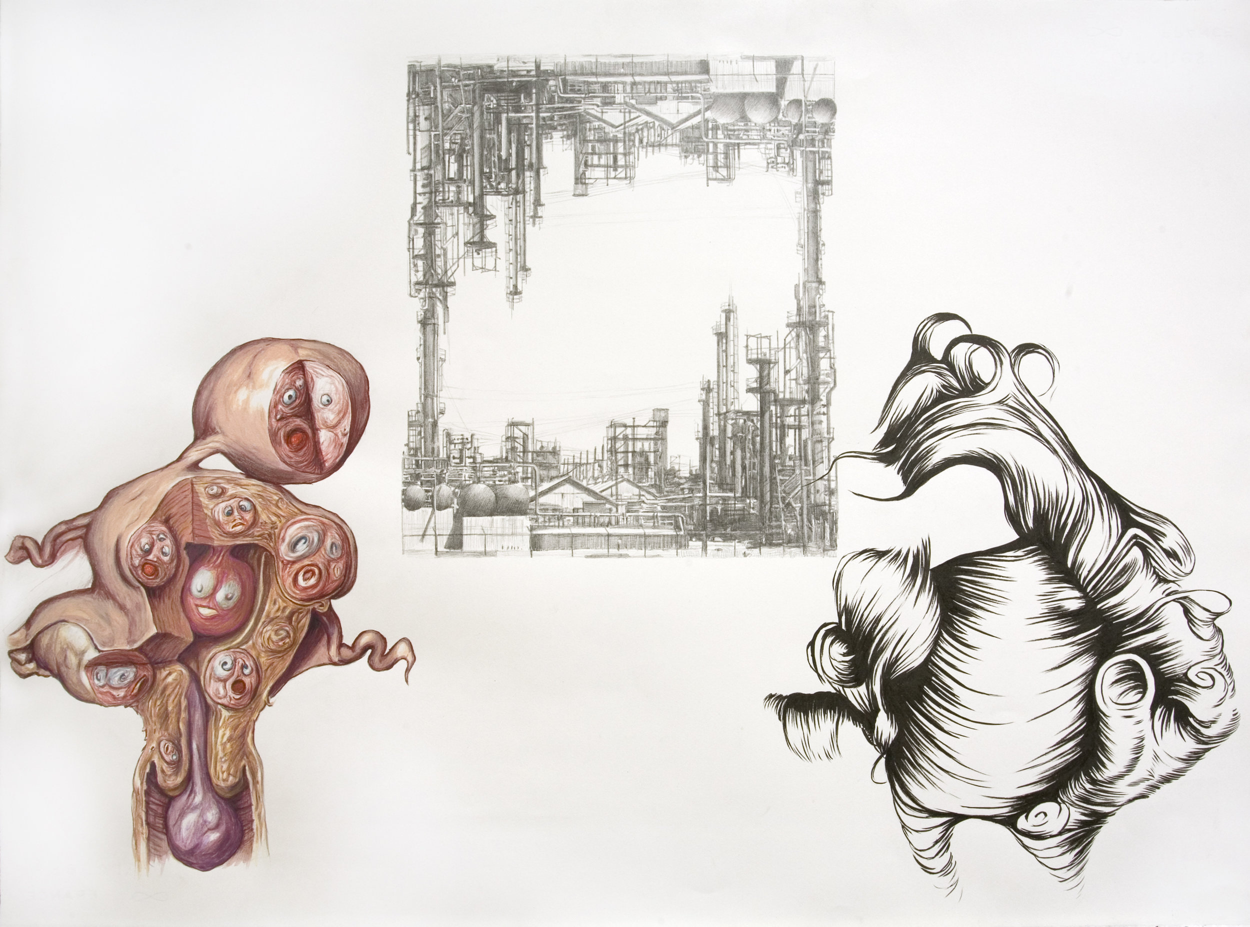 Anatomy Weird-ohs (Dow Chemical & Hair), 2011 gouache, pencil and watercolor on paper 57,2 x 76,8 cm - 22 1/2 x 30 1/4 inches