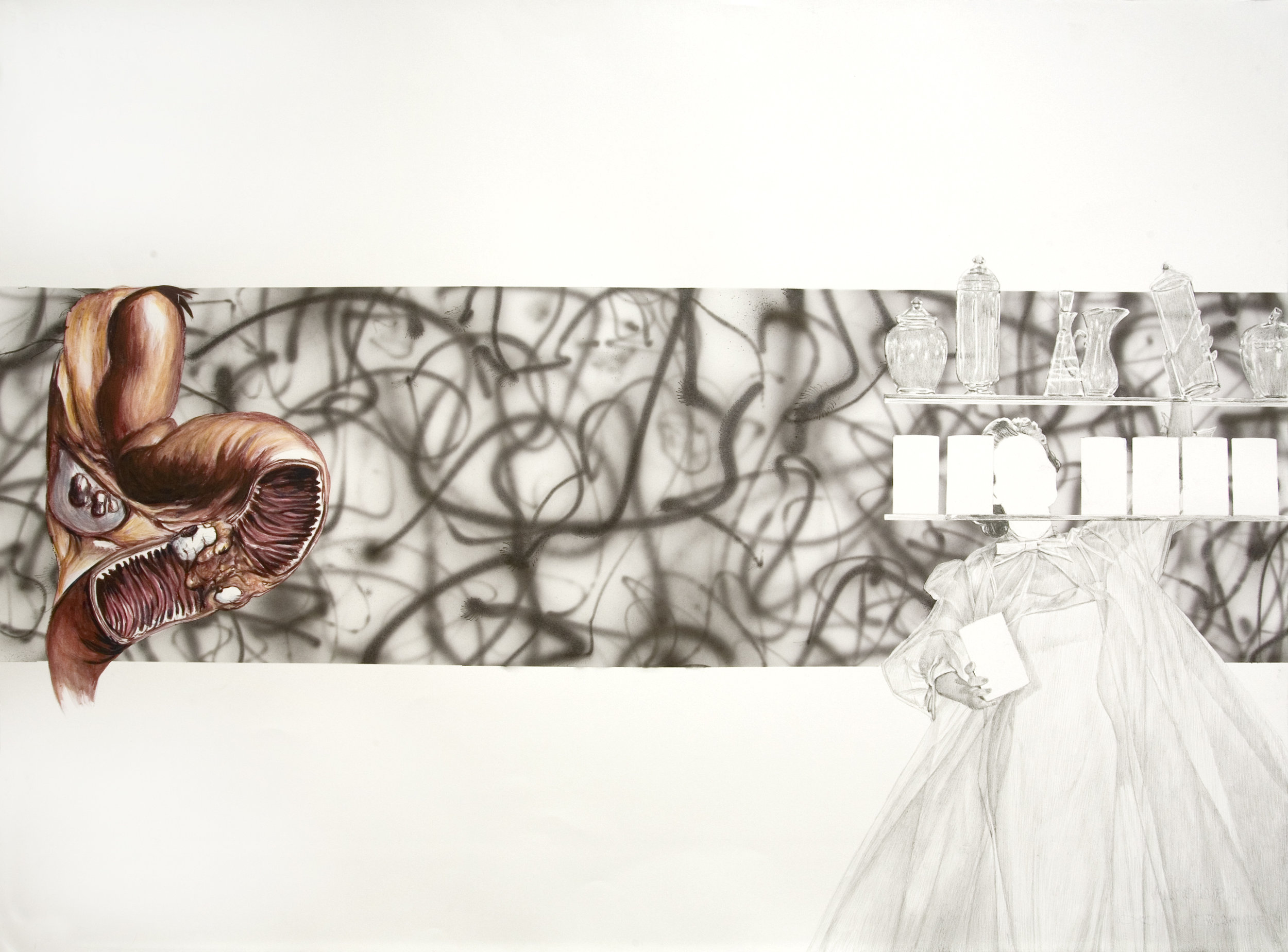 Anatomy Weird-ohs (Intestine; Glasswoman & Airbrushing), 2011 gouache, pencil and watercolor on paper 57,2 x 76,8 cm - 22 1/2 x 30 1/4 inches