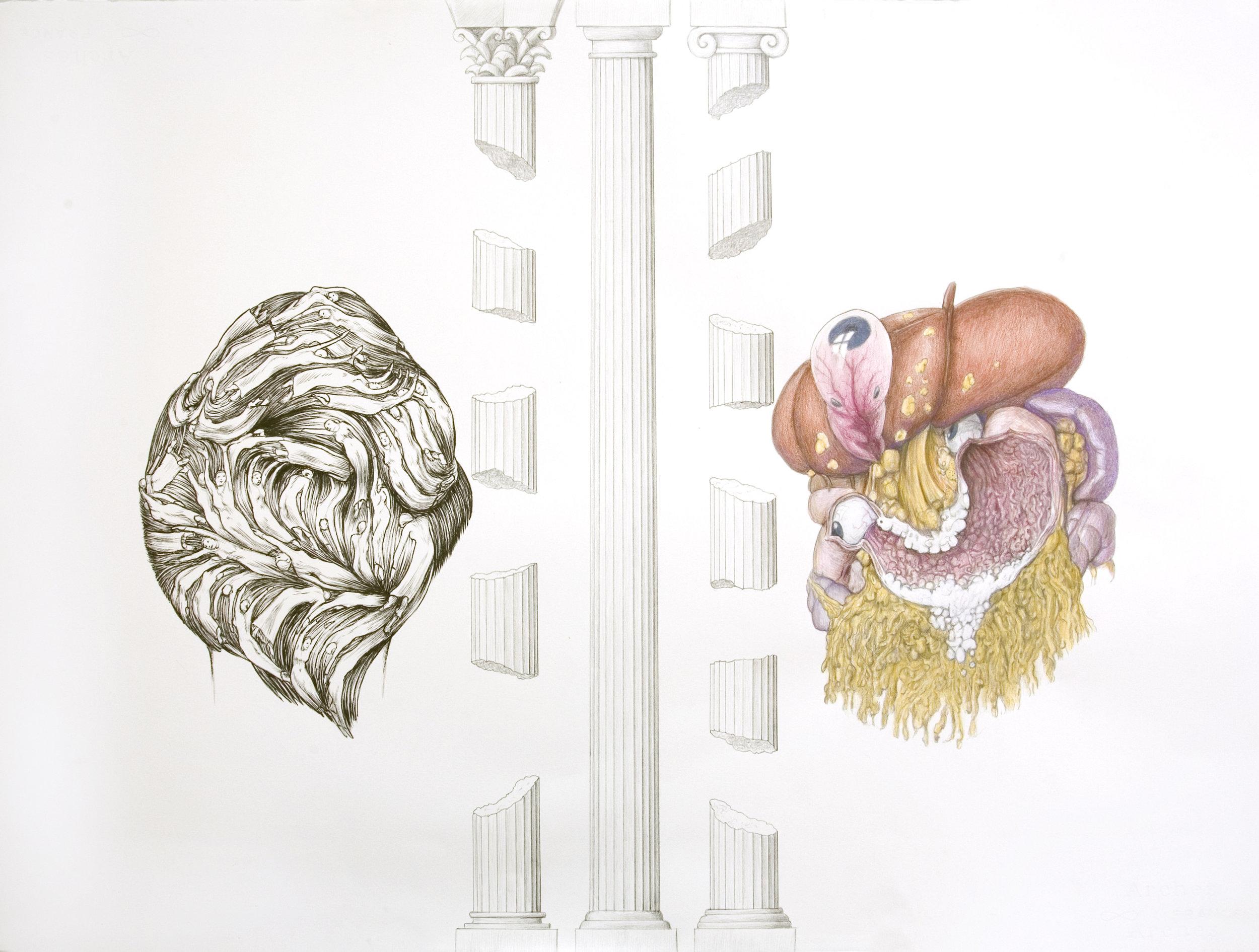 Anatomy Weird-ohs (Blake Hair-do; 3 Columns & Beatnik fetus face), 2011 gouache, pencil and watercolor on paper 56,8 x 76,2 cm - 22 3/8 x 30 inches
