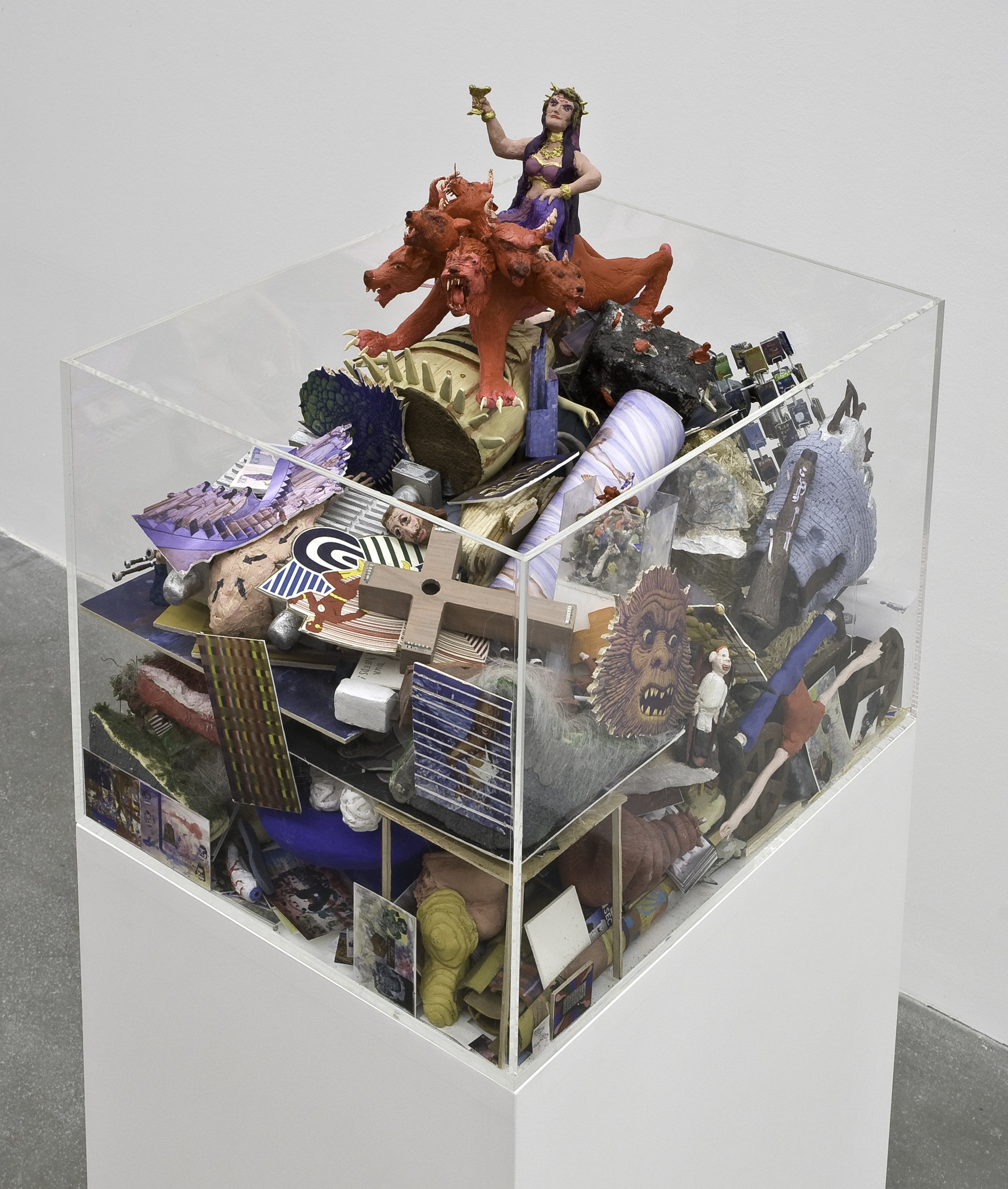 "Dream Object (""I was working on a landscape sculpture that was actually a big garbage pile of all the dream objects I'd done...""), 2007 mixed media sculpture, plexiglas case 102 x 47 x 36,8 cm 40 1/8 x 18 1/2 x 14 1/2 inches"