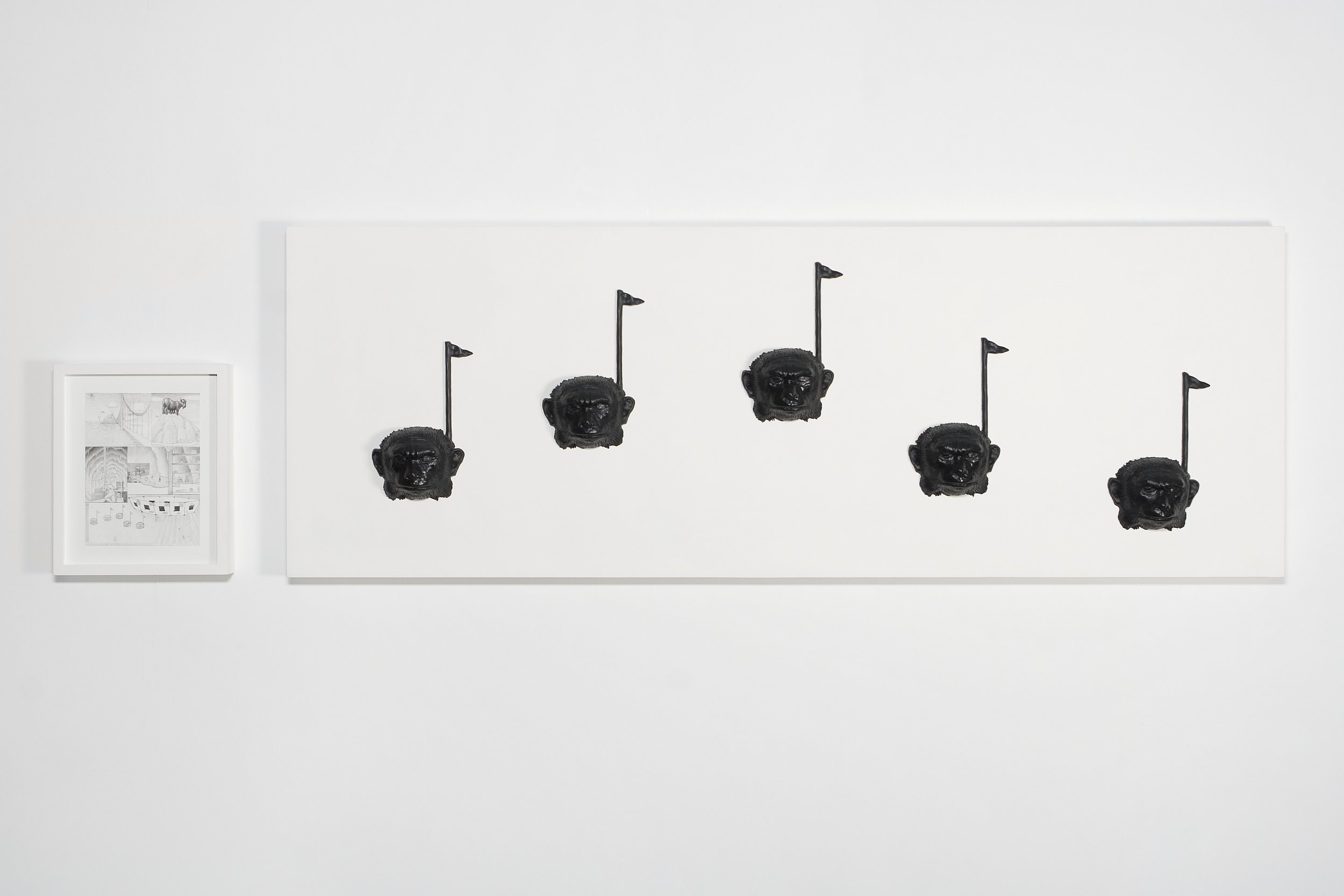 "Dream Object (""In a James Bond sequence... On the wall were decorative musical notes with monkey heads for dots...""), 2005 polyurethane 71 x 192,4 x 5,7 cm - 28 x 75 3/4 x 2 1/4 inches (framed)"