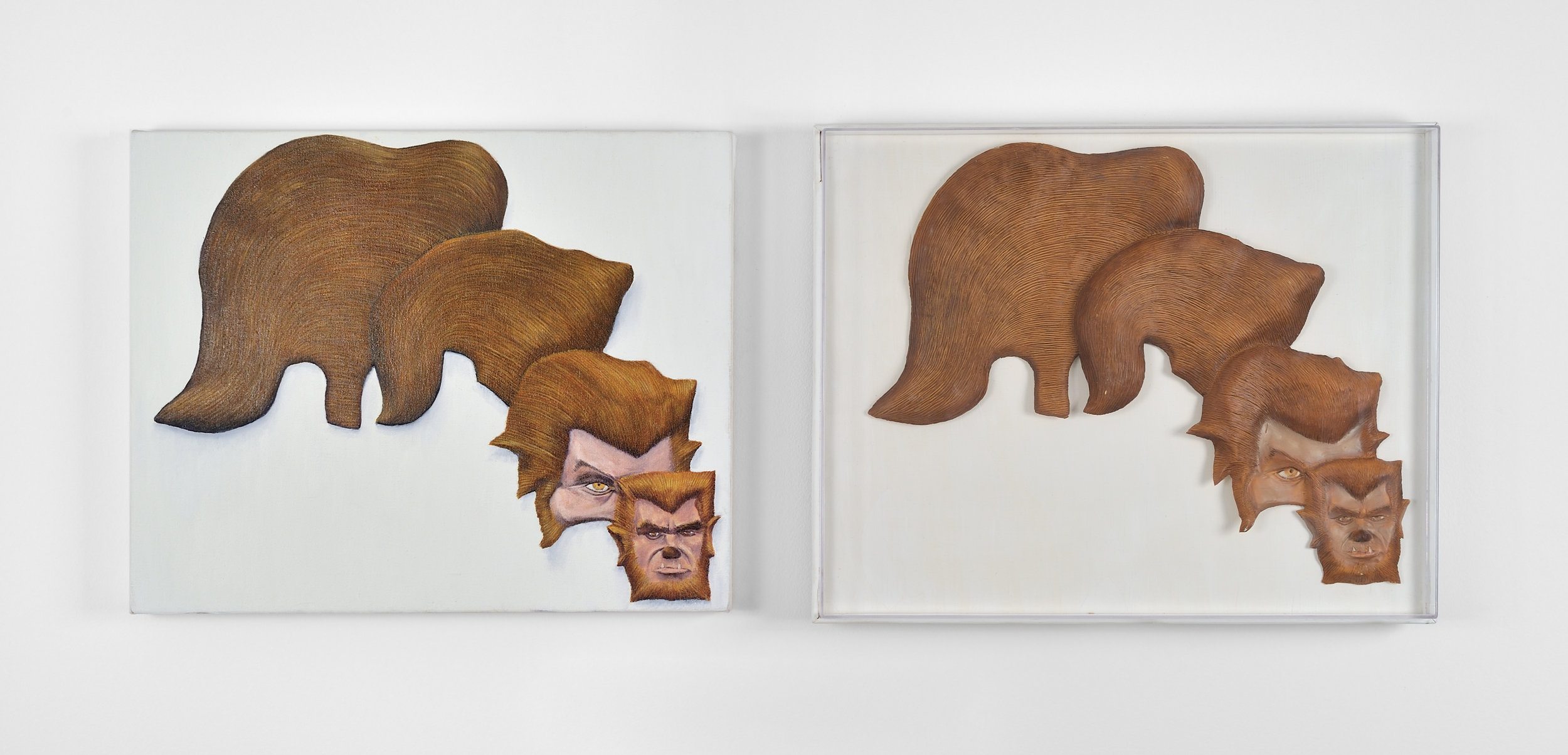 "Dream Object (""I had to get off the hiway in Texas... Inside a thrift store were a succession of partial heads vac u formed that grew from a juvenile delinquent to a vampire & a J.D. Duck tail hairdo shrunk into a werewolf...""), 1998 oil on canvas, wood, plexiglas, latex, lacquer 42 x 53 x 6 cm - 16 1/2 x 20 7/8 x 2 3/8 inches (each panel) (framed)"