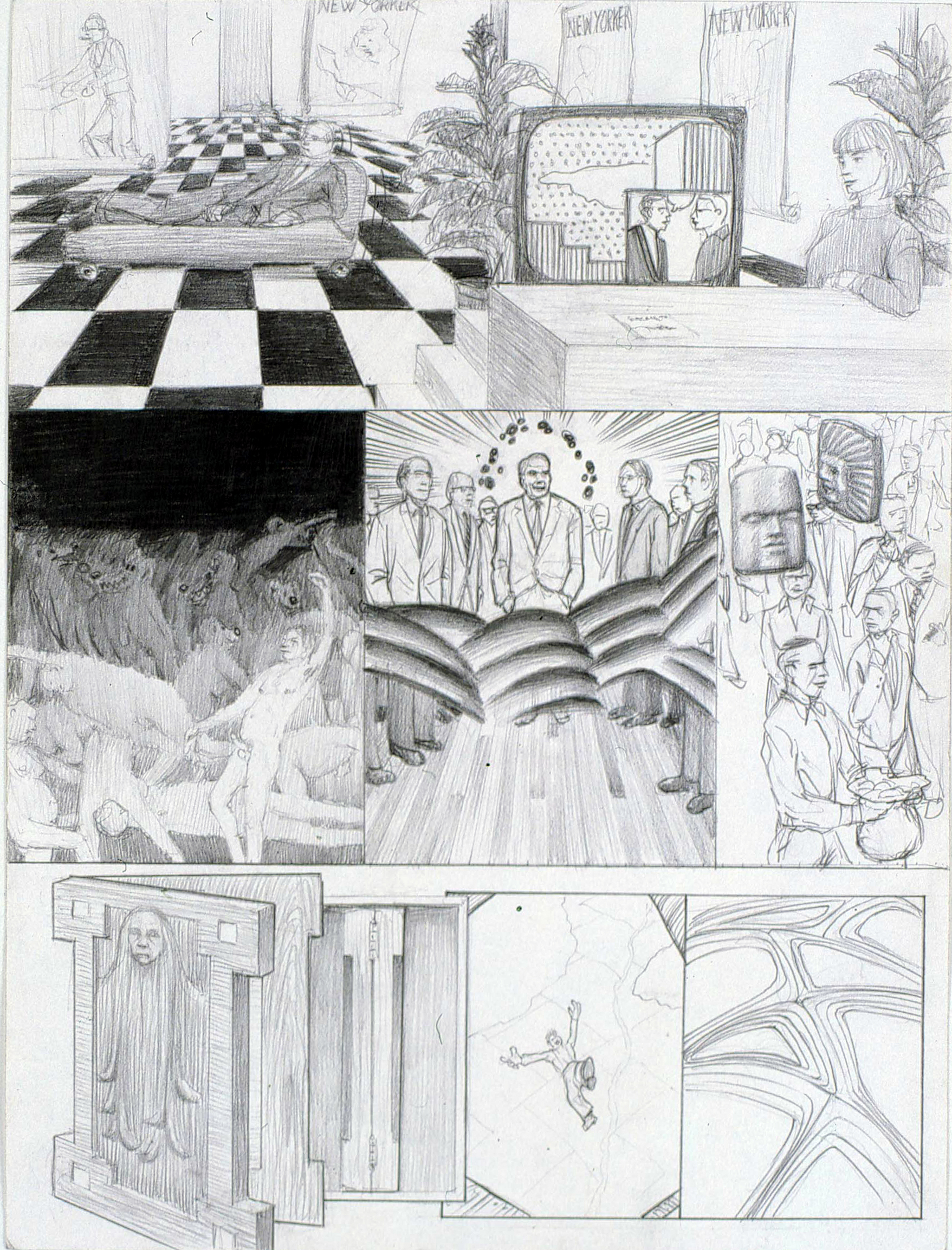 "Dream Drawing (""I ran into Tom Powers who was going on an erotic weekend in Mexico with his BF...""), 2004 graphite on paper 42 x 34,5 cm - 16 1/2 x 13 5/8 inches (framed)"