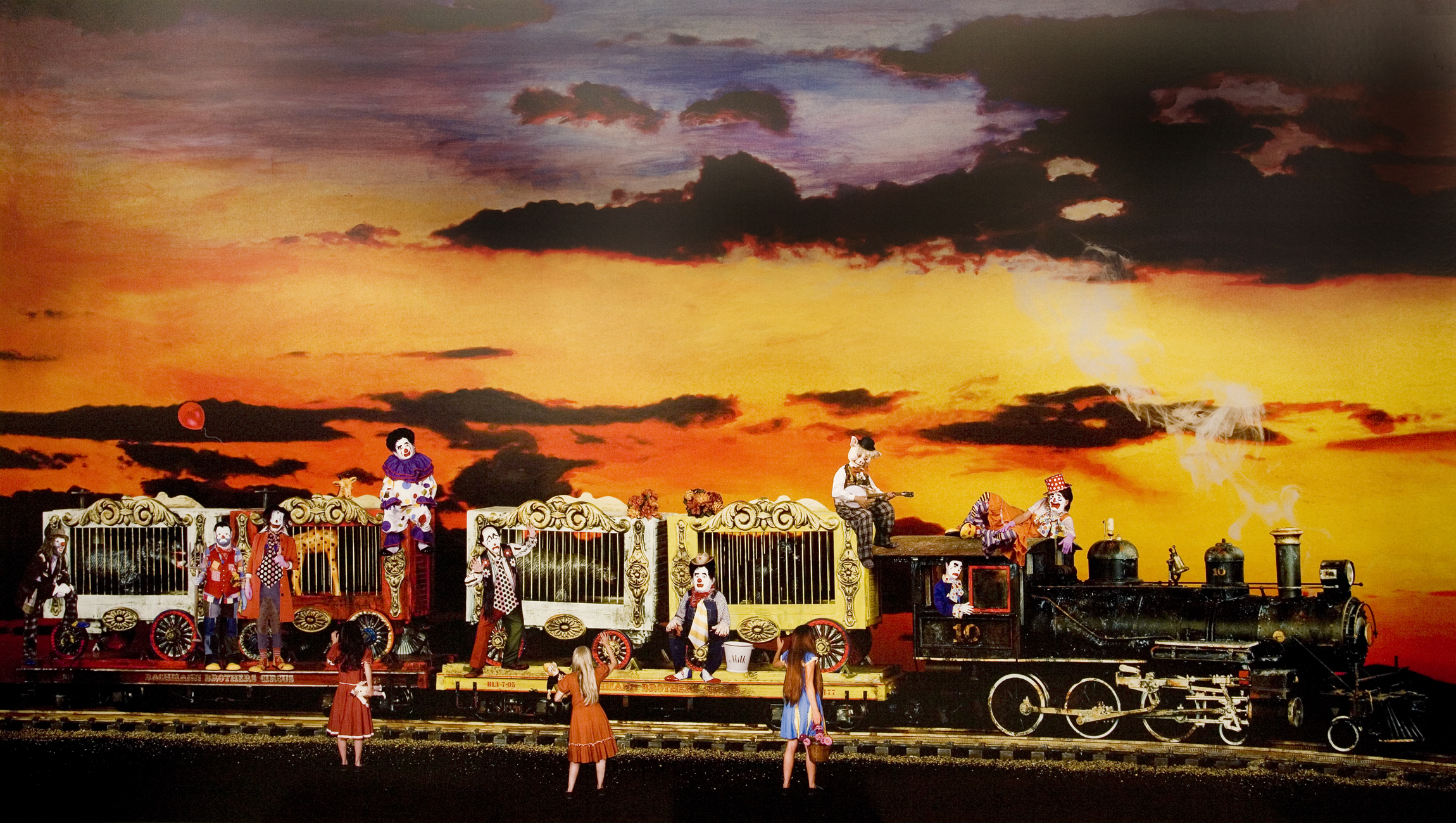 The Arrival of The Circus Clowns, 2008 collages on archival pigment print mounted on Sintra 104 x 181 cm - 40 x 71 1/4 inches (framed)