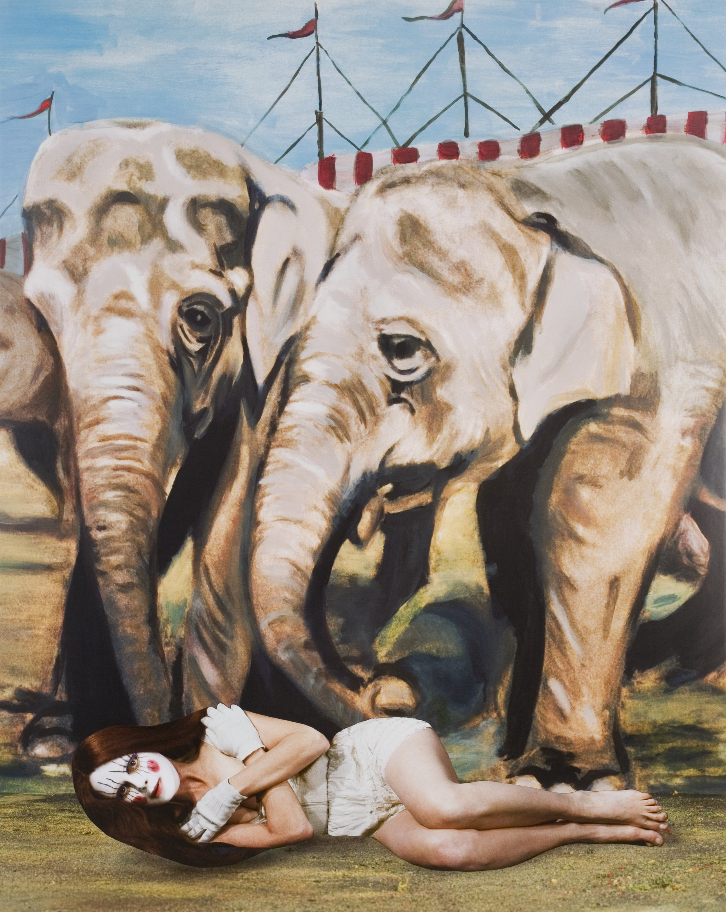 Melancholy Elephants, 2008 collages on archival pigment print mounted on Sintra 129 x 104 cm - 50 13/16 x 40 15/16 inches (framed)