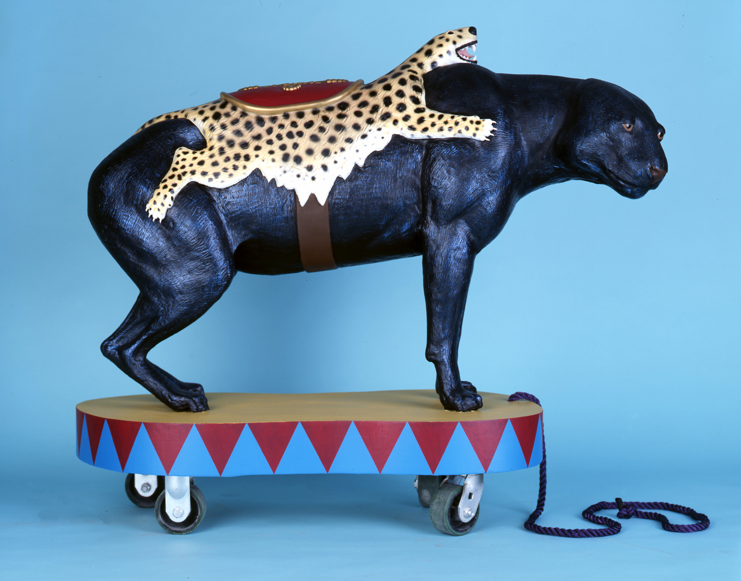 Panther, 2008 wood, foam, aqua resin, surfacing veil, plastic, acrylic paint, castor wheels and rope 106,5 x 122 x 51 cm - 41 15/16 x 48 x 20 1/16 inches