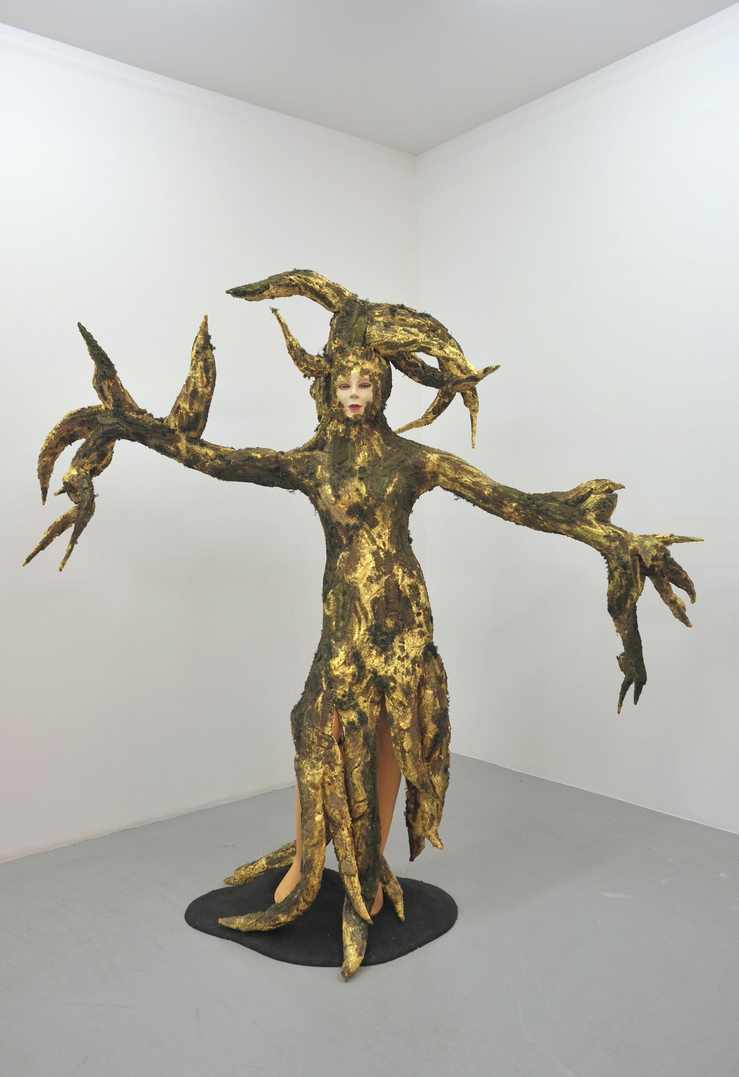 Spirit Tree, 2008 mannequin, wood, foam, gold leaf, aqua-resin and nylon fabric 195 x 81 cm - 76 x 31 7/8 inches