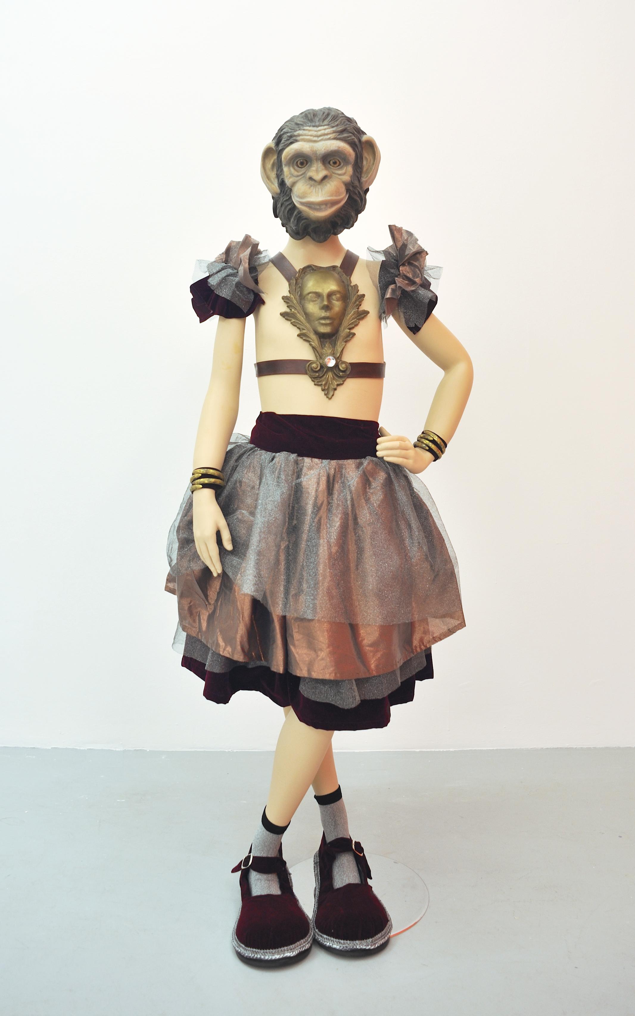 The Chimp, 2008 foam, aqua resin, surfacing veil, plastic, cold cast metal, leather, epoxy, hand sewn costume & acrylic paint on fiberglass mannequin 148,6 x 53,5 x 53,5 cm - 58 1/2 x 21 x 21 inches