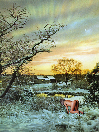 """""""Snowy Day at The Farm (3.26.12)"""" from """"The Diary Project"""", 2012 collage on paper 28 x 21 cm - 11 1/32 x 8 5/16 inches"""