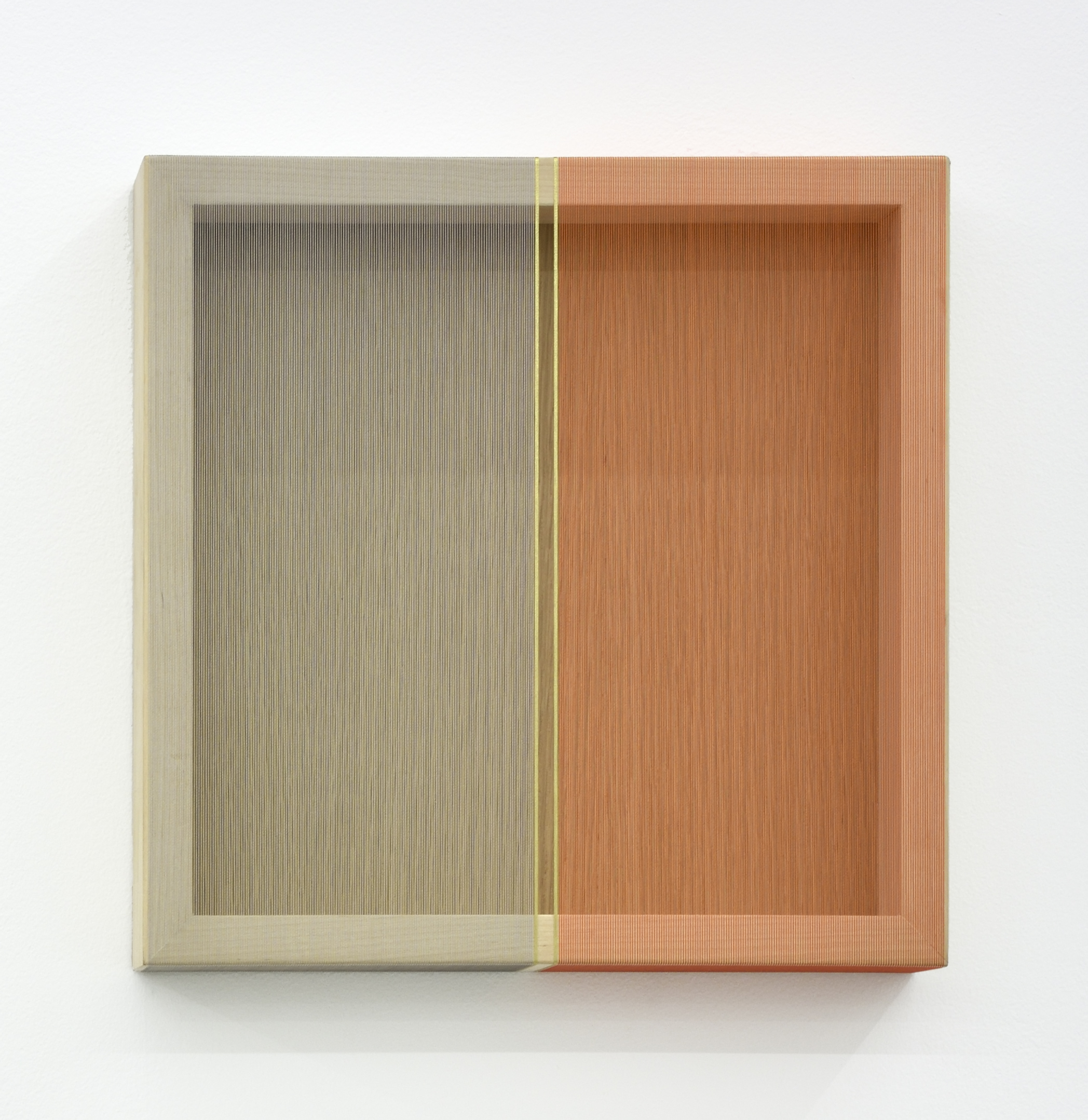 Untitled (Multi-colored hovering thread), 2016 single-strand rayon thread and metallic thread on wood 30,5 x 30,5 cm - 12 x 12 inches