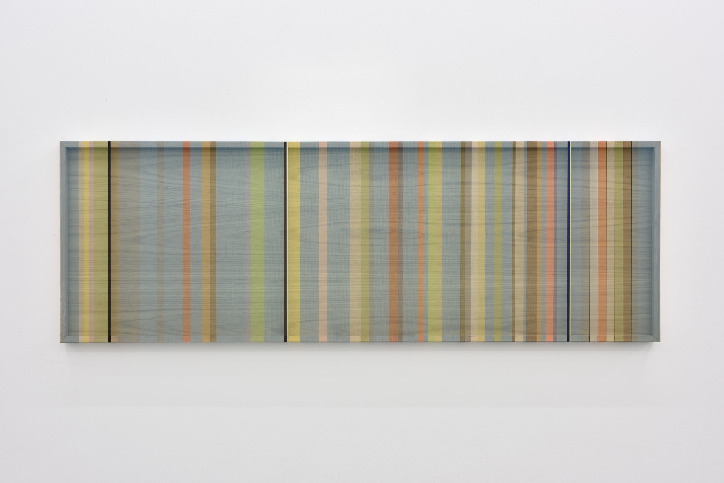 Untitled (Turquoise hovering thread), 2016 single-strand rayon and metallic thread on wood 61 x 183 cm - 24 1/32 x 72 1/16 inches