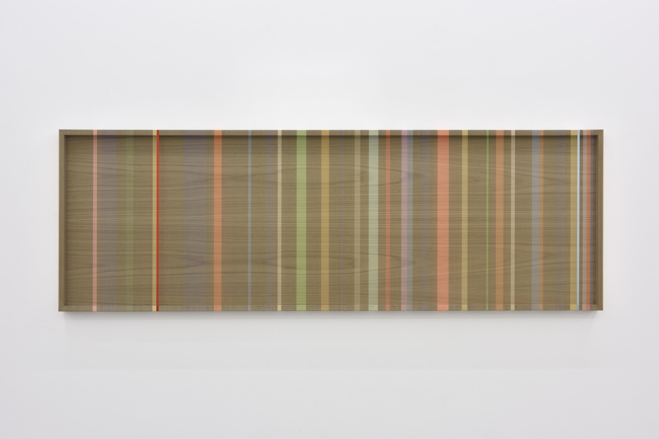 Untitled (Navy hovering thread), 2016 single-strand rayon and metallic thread on wood 61 x 183 cm - 24 1/32 x 72 1/16 inches