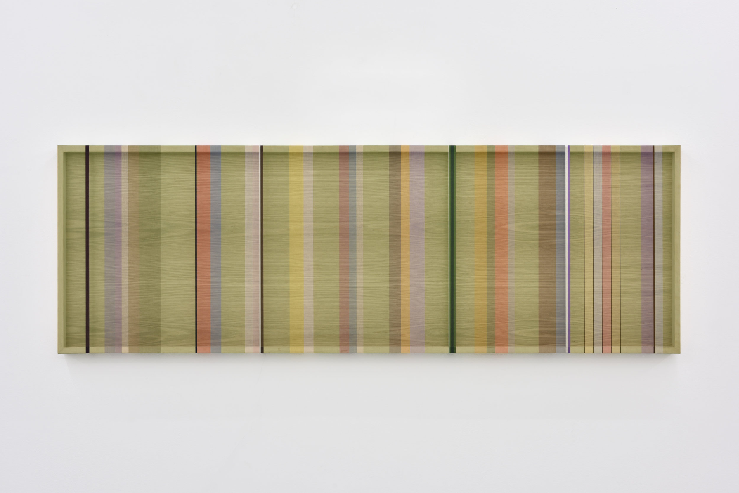Untitled (Green hovering thread), 2016 single-strand rayon and metallic thread on wood 61 x 183 cm - 24 1/32 x 72 1/16 inches