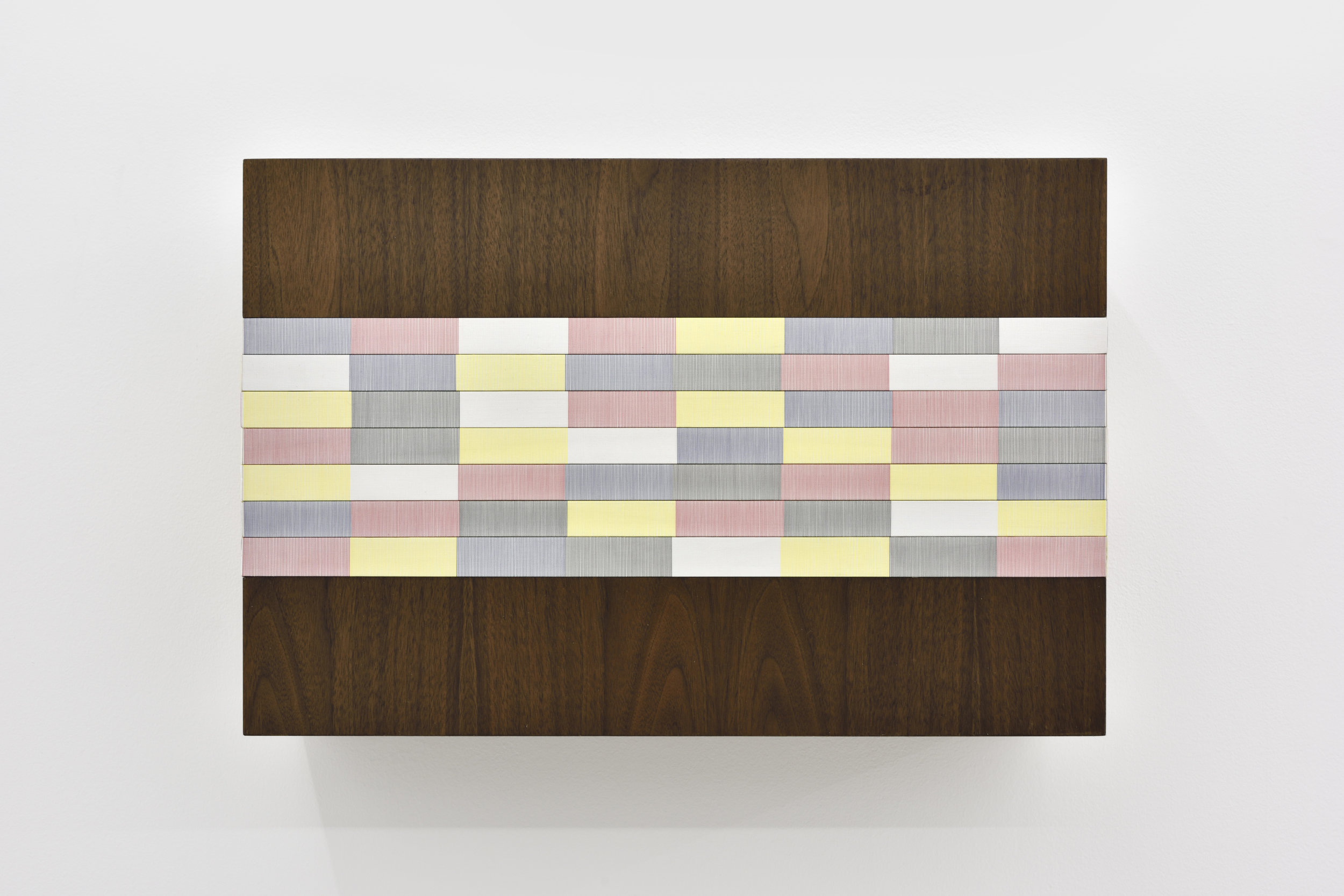 Untitled (Primary wall sculpture), 2016 oil, single-strand rayon thread and basswood on walnut 46 x 61 x 20 cm - 18 1/8 x 24 1/32 x 7 7/8 inches