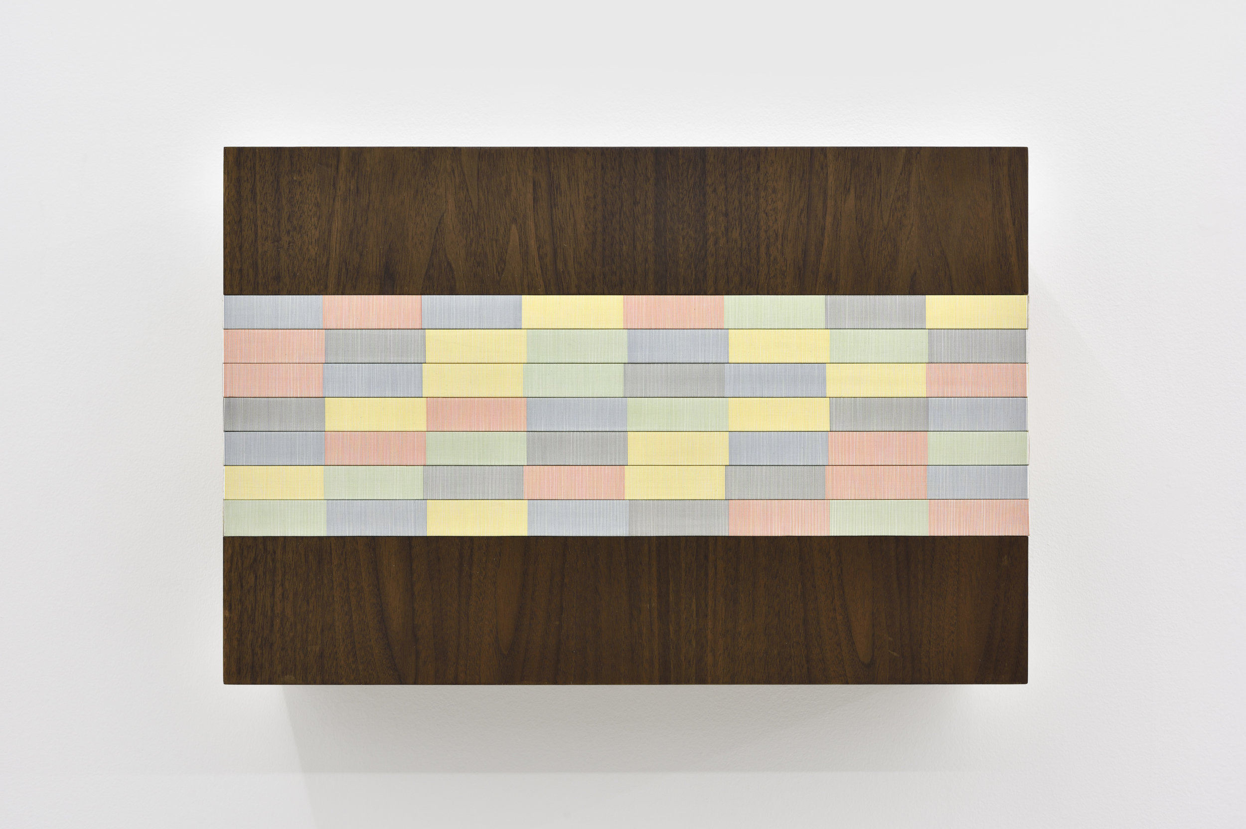 Untitled (Blue/orange wall sculpture), 2016 oil, single-strand rayon thread and basswood on walnut 46 x 61 x 20 cm - 18 1/8 x 24 1/32 x 7 7/8 inches