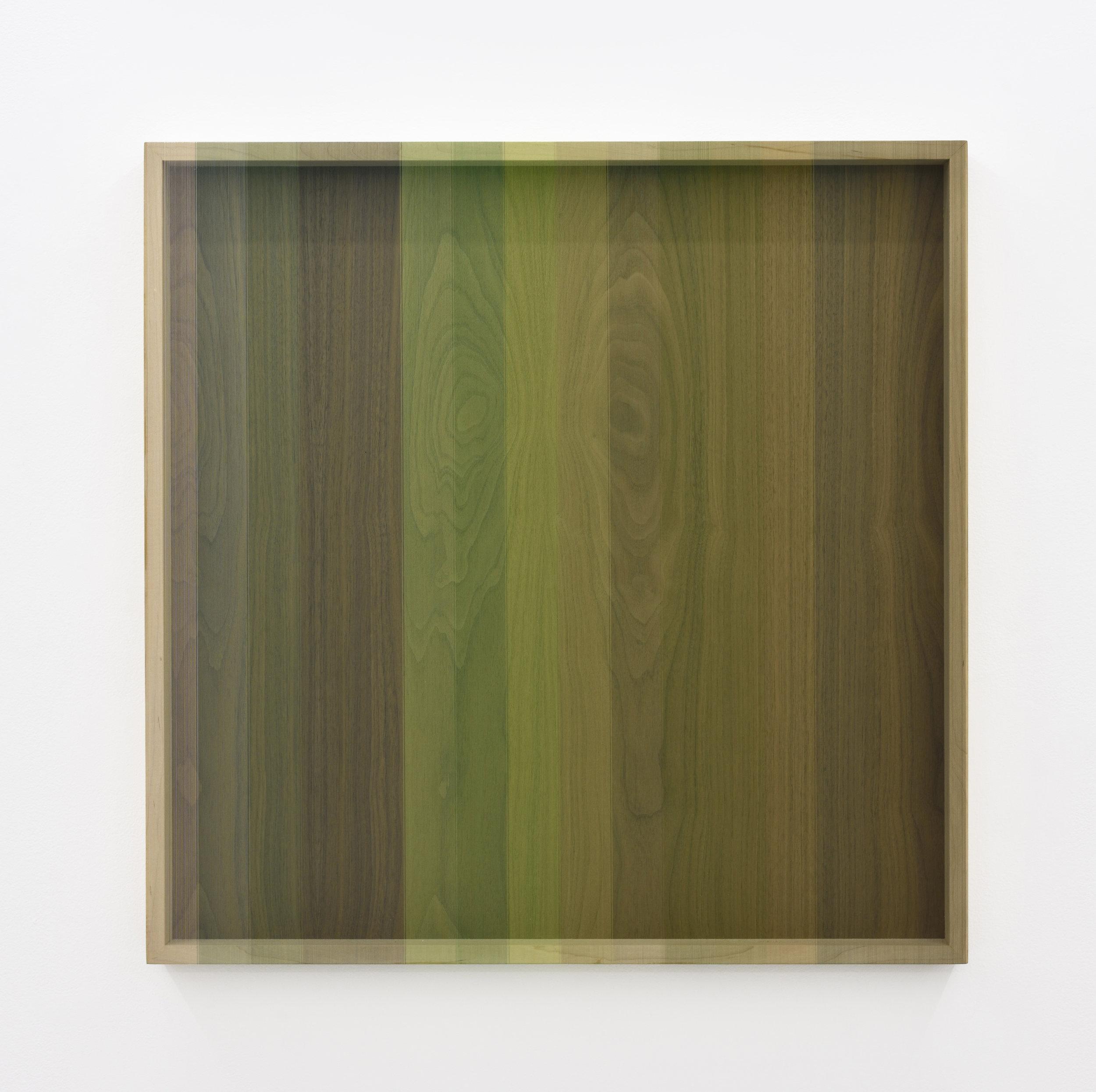 Untitled (Green progression hovering thread), 2013 rayon thread on walnut 78,7 x 78,7 cm - 31 x 31 inches