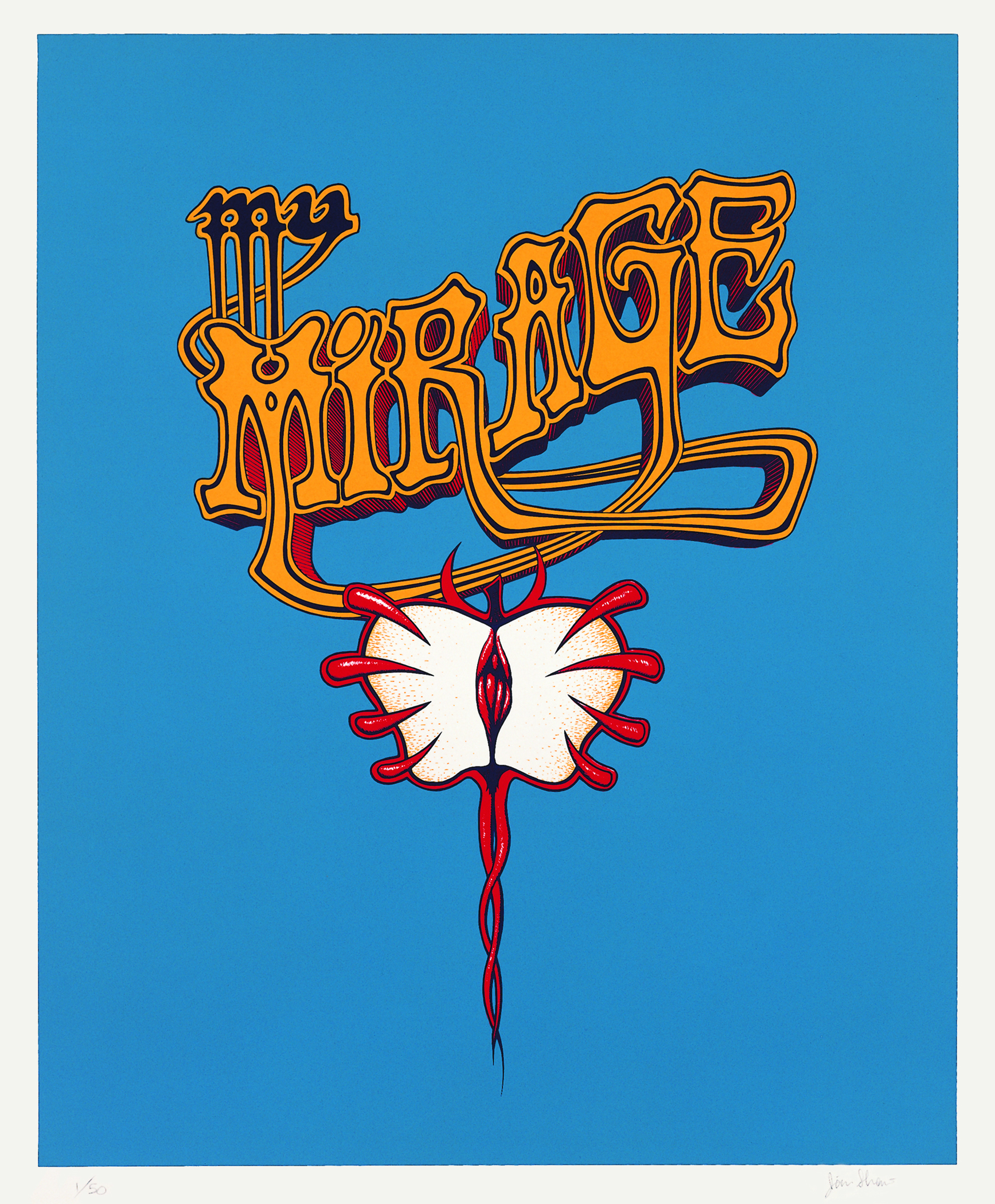 Jim Shaw, My Mirage Logo III, 1997 silkscreen print on paper. edition 55,5 x 47,5 cm - 21 7/8 x 18 3/4 inches (framed)