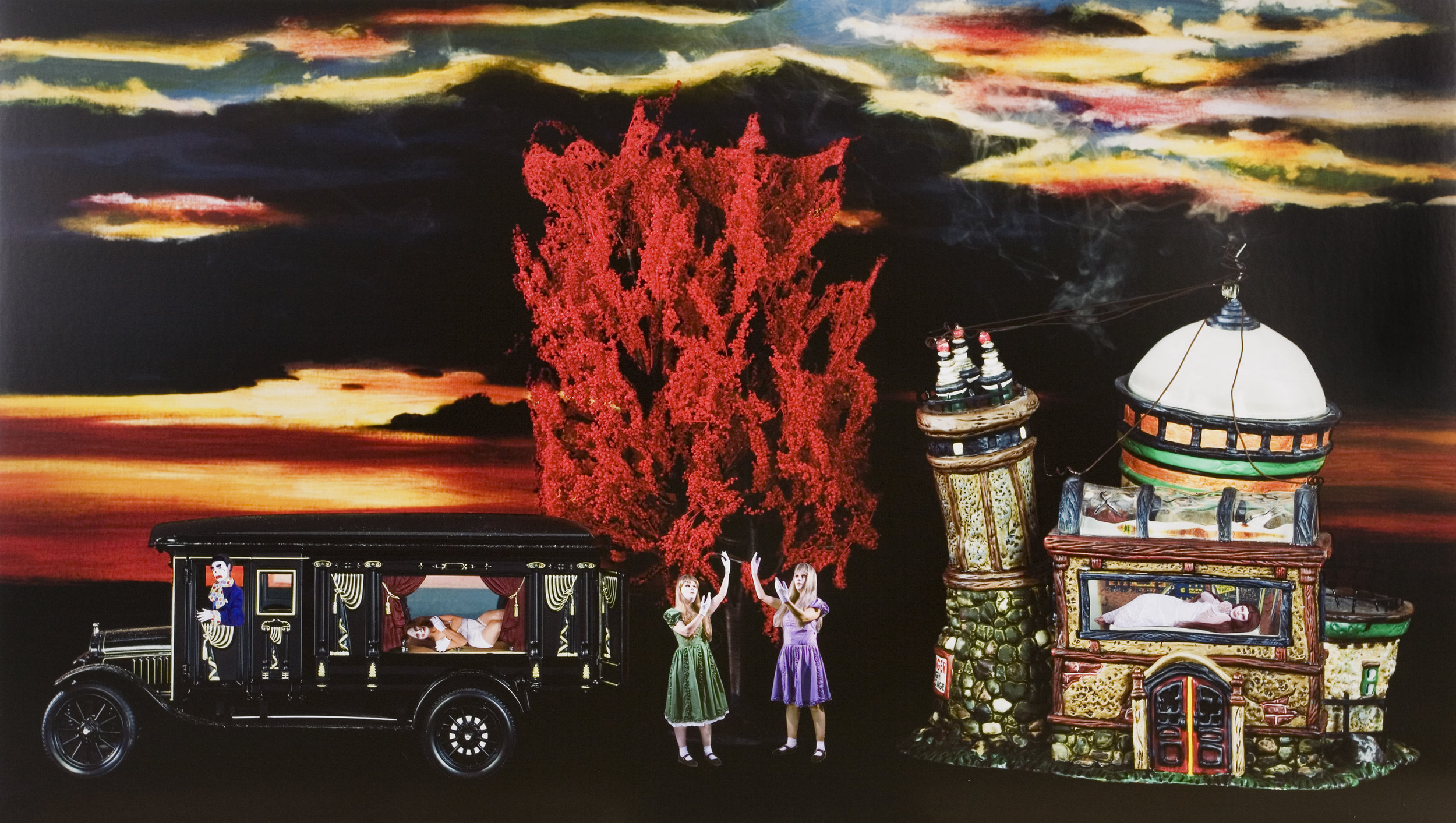 Marnie Weber, Transformation by The Tree of Fire, 2008 collage on archival pigment print mounted on Sintra 71 x 124 cm - 28 x 49 inches (framed)