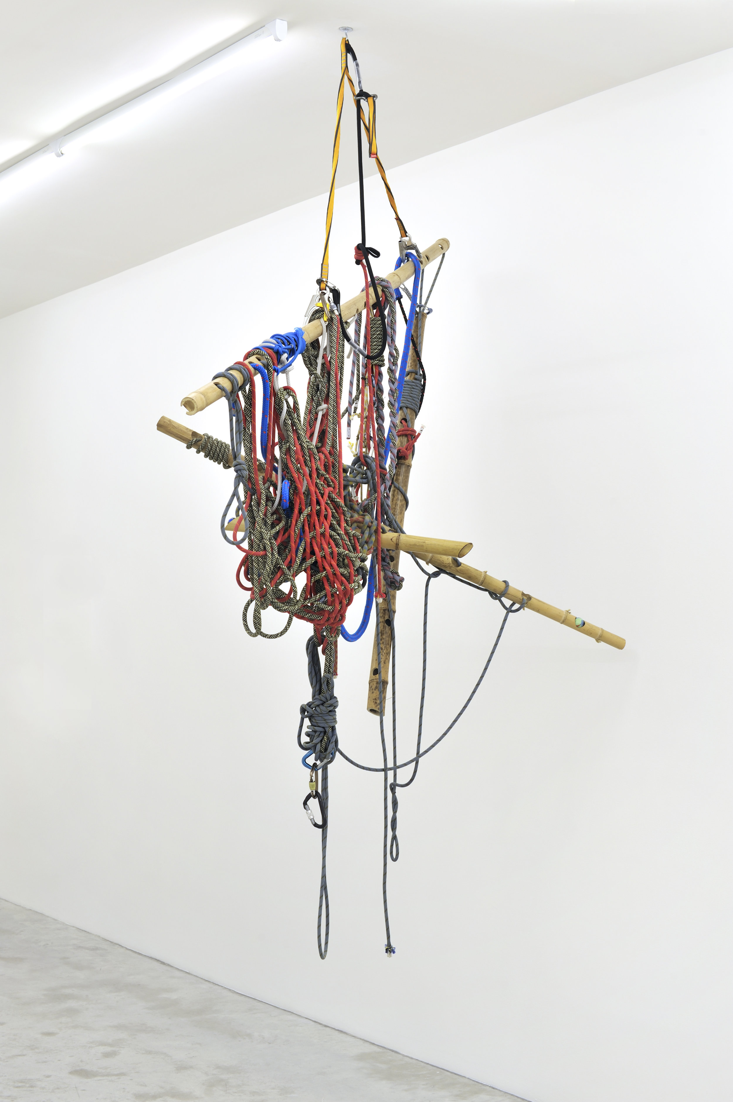 Tobias Madison & Kaspar Müller, Untitled, 2011 bamboo, climbing ropes, carabiner, mouth blown glass bowls 260 x 180 x 154 cm - 102 3/8 x 70 7/8 x 60 5/8 inches
