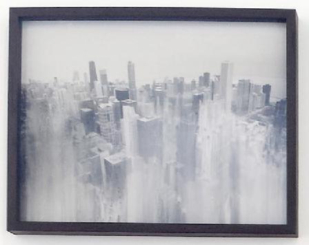 """Laurent Pernot, """"Chicago"""" from """"Et si demain, les grandes forces de la nature se rejoignaient pour liquider l'avènement de la révolution industrielle et de la postmodernité?"""", 2014 print on baryta paper 32 x 42 x 3,5 cm - 12 5/8 x 16 1/2 x 1 3/8 inches (framed)"""