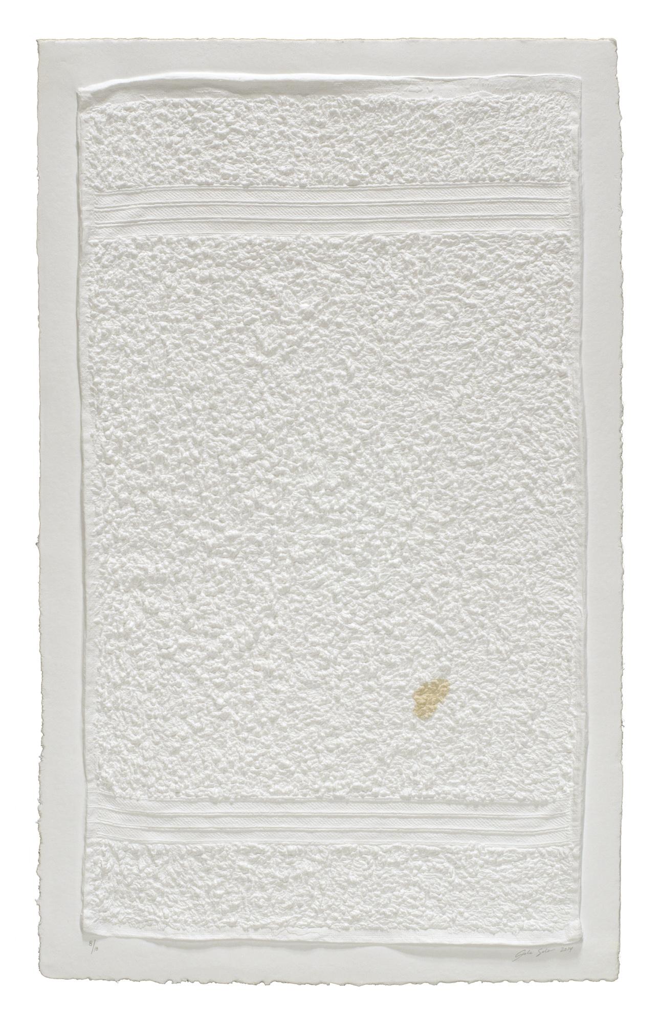 Analia Saban , Three Stripe Hand Towel (with Stain), 2014 Mixografia monoprint on handmade paper ed. 13/18 78,5 x 50,5 cm - 30 7/8 x 19 7/8 inches (framed)