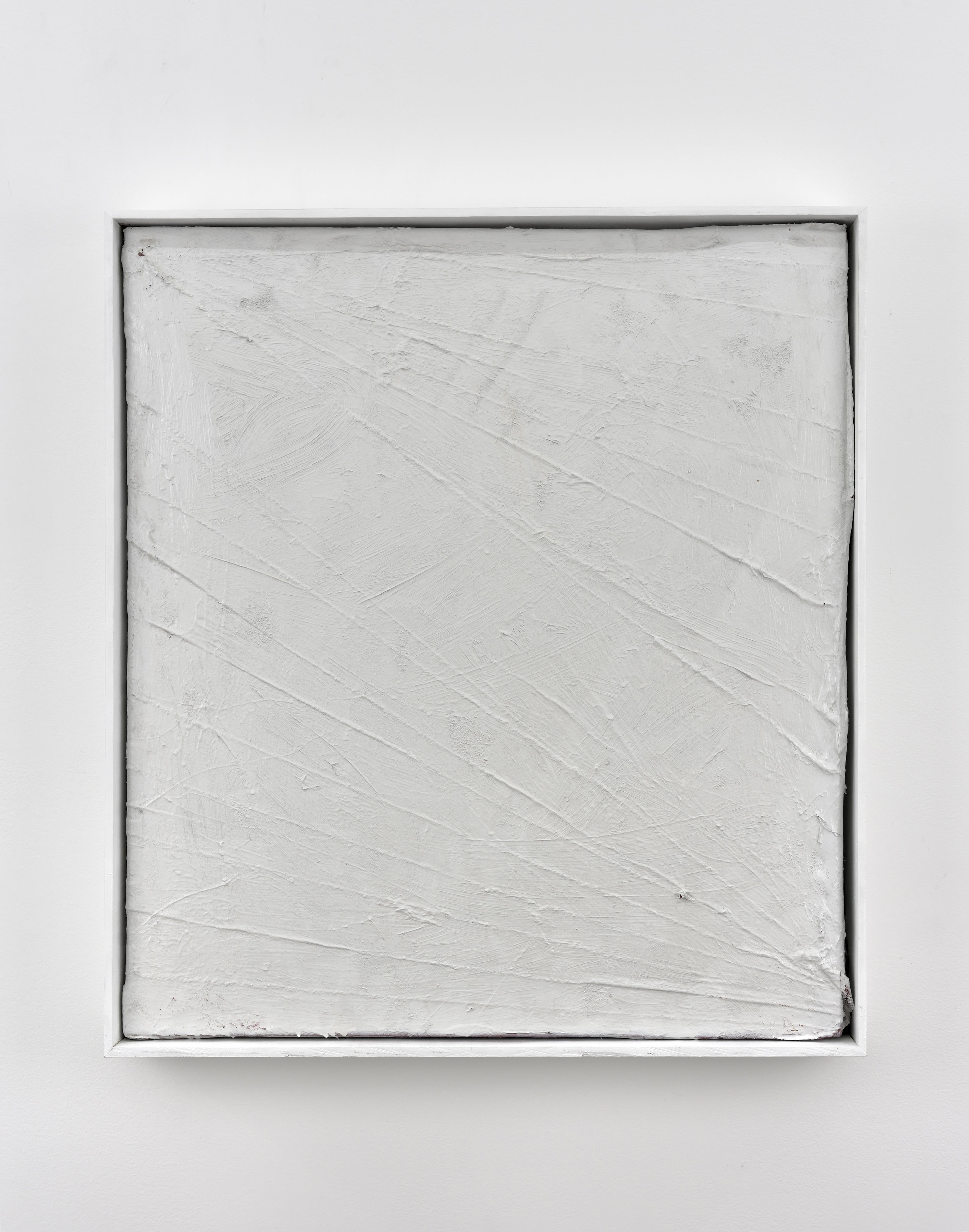 Matthew Chambers, That Clear Note of Resentment in his Voice, 2013 acrylic, enamel based adhesive and nylon flocking on canvas 72,5 x 65,5 x 9,5 cm - 28 1/2 x 25 3/4 x 3 3/4 inches (framed)