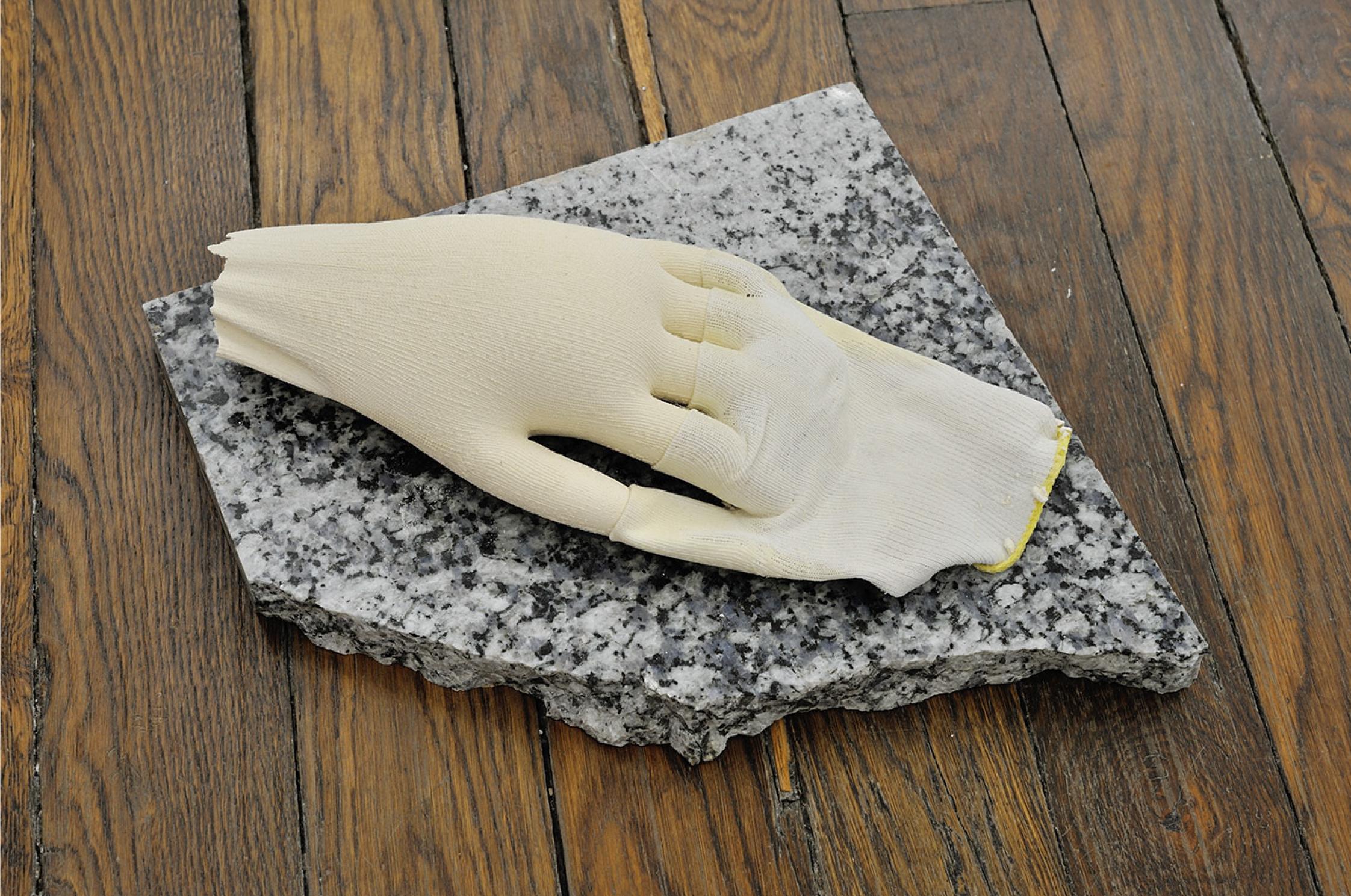 Sergio Verastegui, Untitled, 2015 plaster, marble, work glove 31 x 33 x 10 cm - 12 1/4 x 13 x 3 7/8 inches